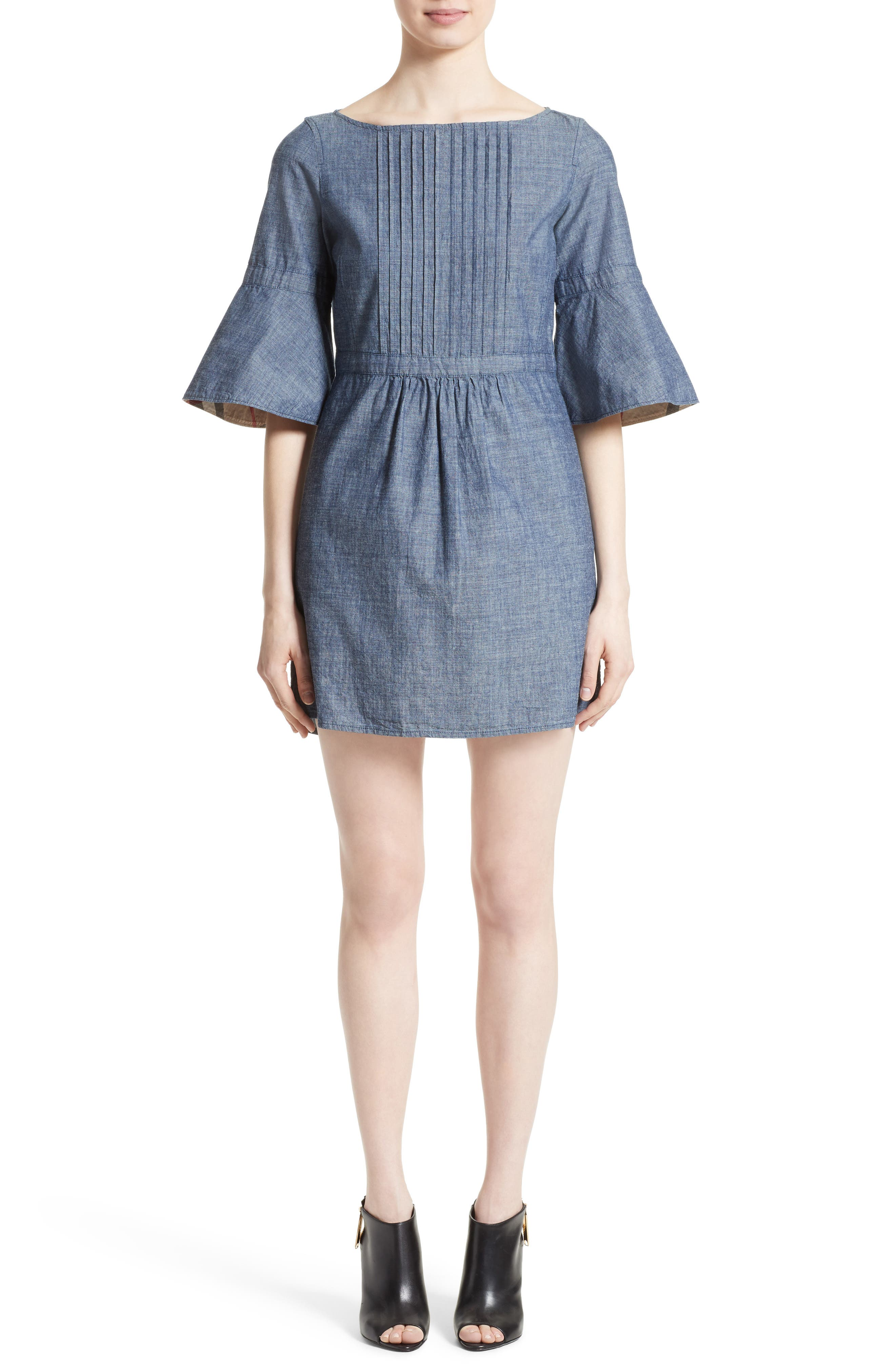 Michelle Bell Sleeve Chambray Dress,                             Alternate thumbnail 5, color,                             423