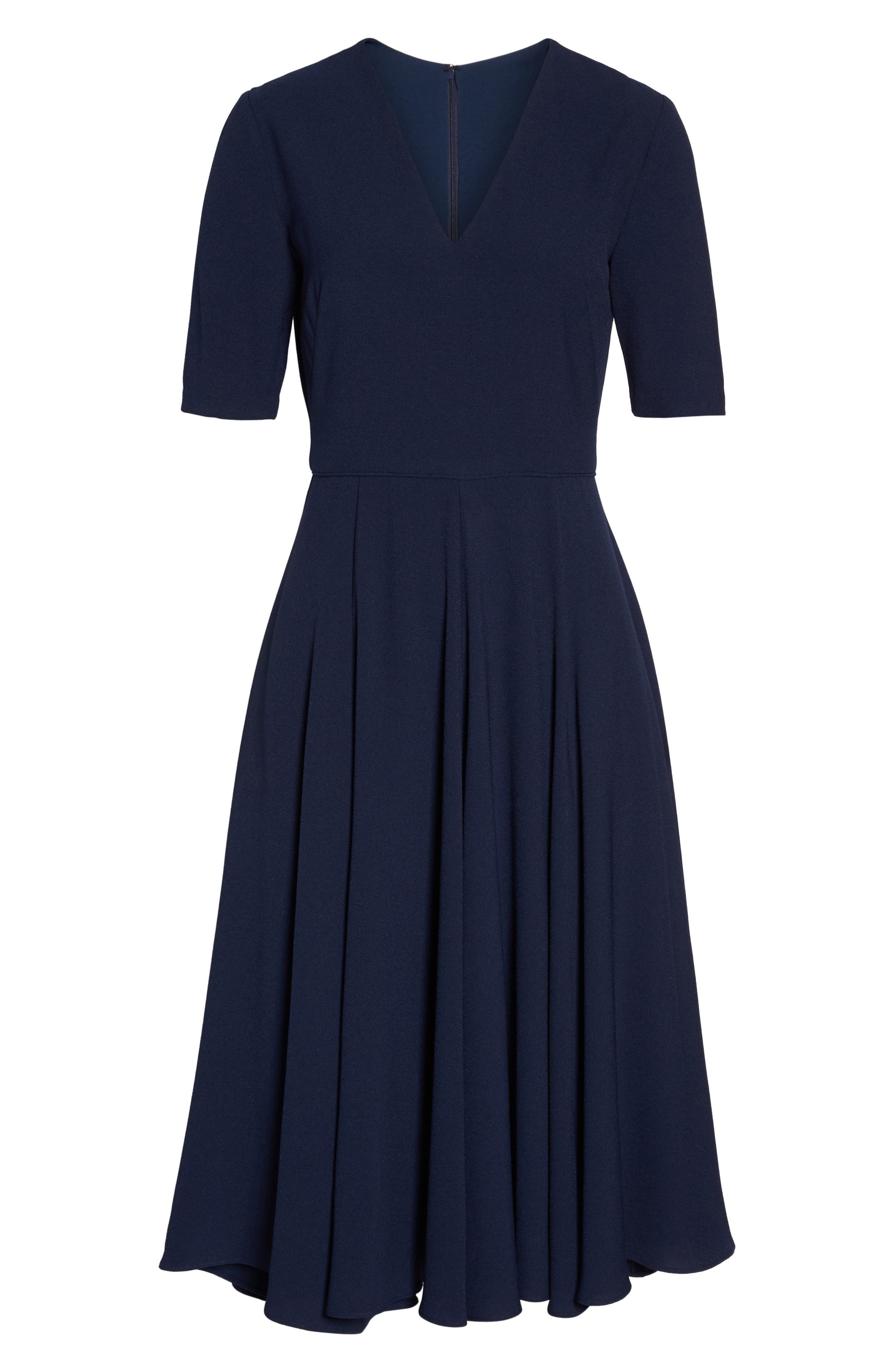 Edith City Crepe Fit & Flare Dress,                             Alternate thumbnail 7, color,                             NAVY