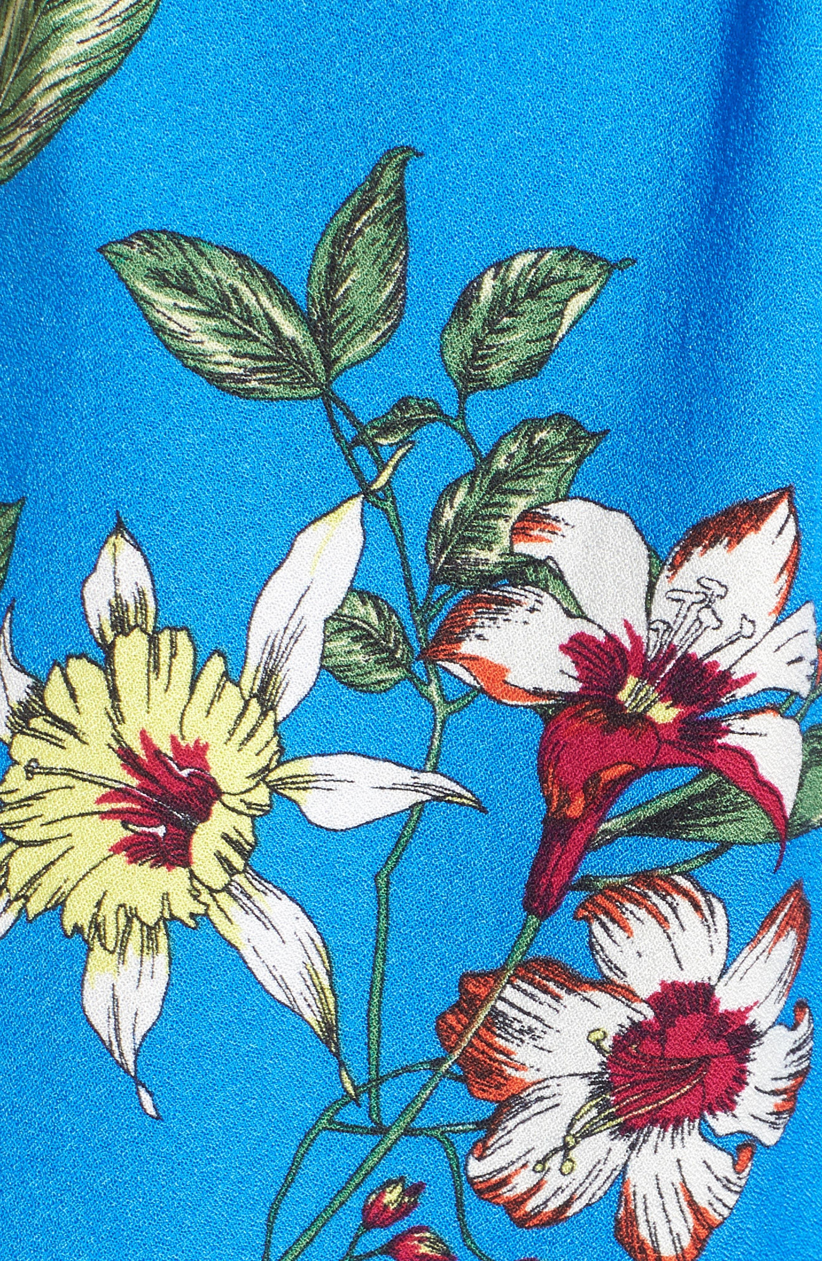Floral Print Tie Waist Romper,                             Alternate thumbnail 6, color,                             400