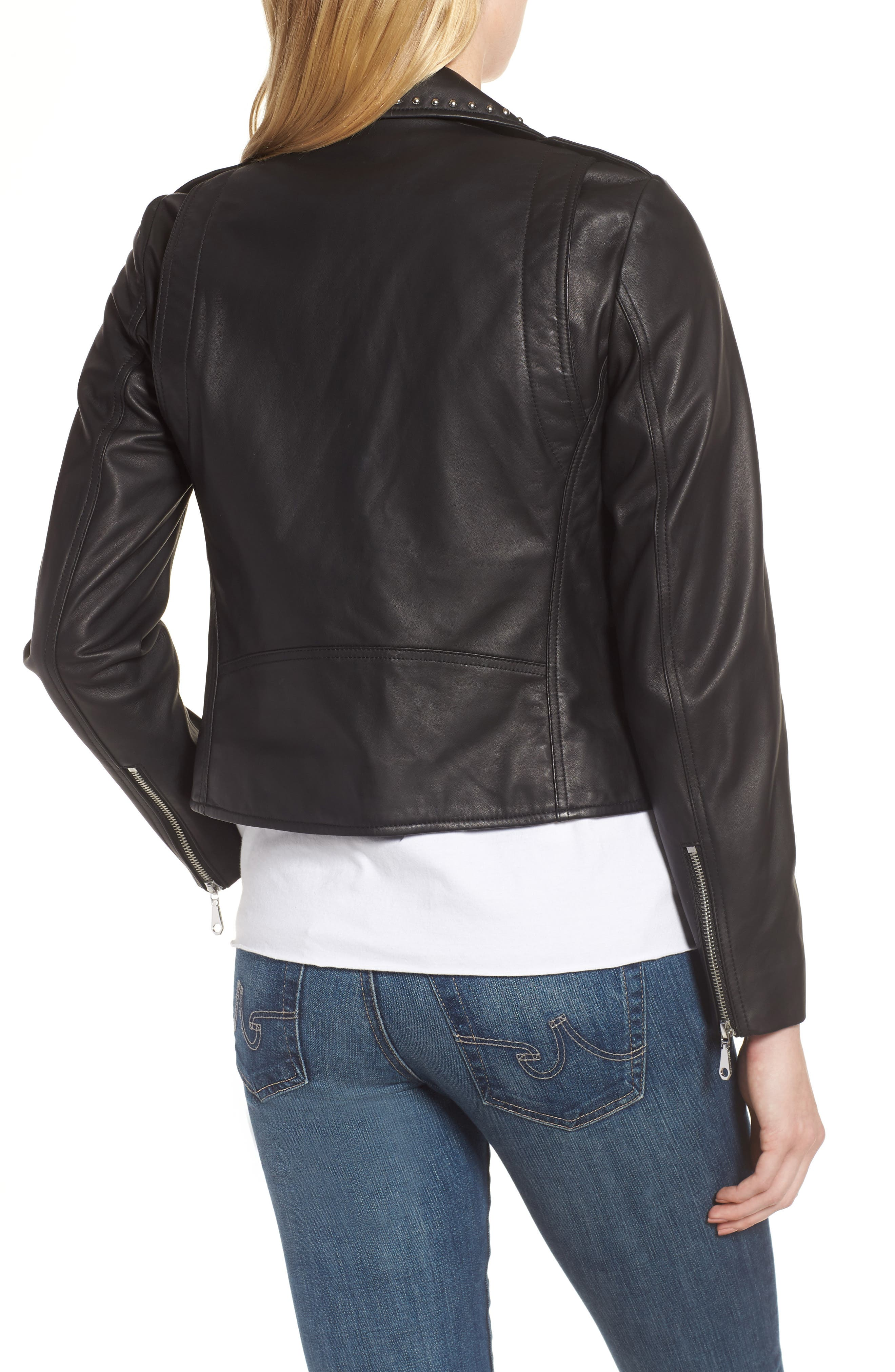 Wes Leather Moto Jacket,                             Alternate thumbnail 3, color,                             001