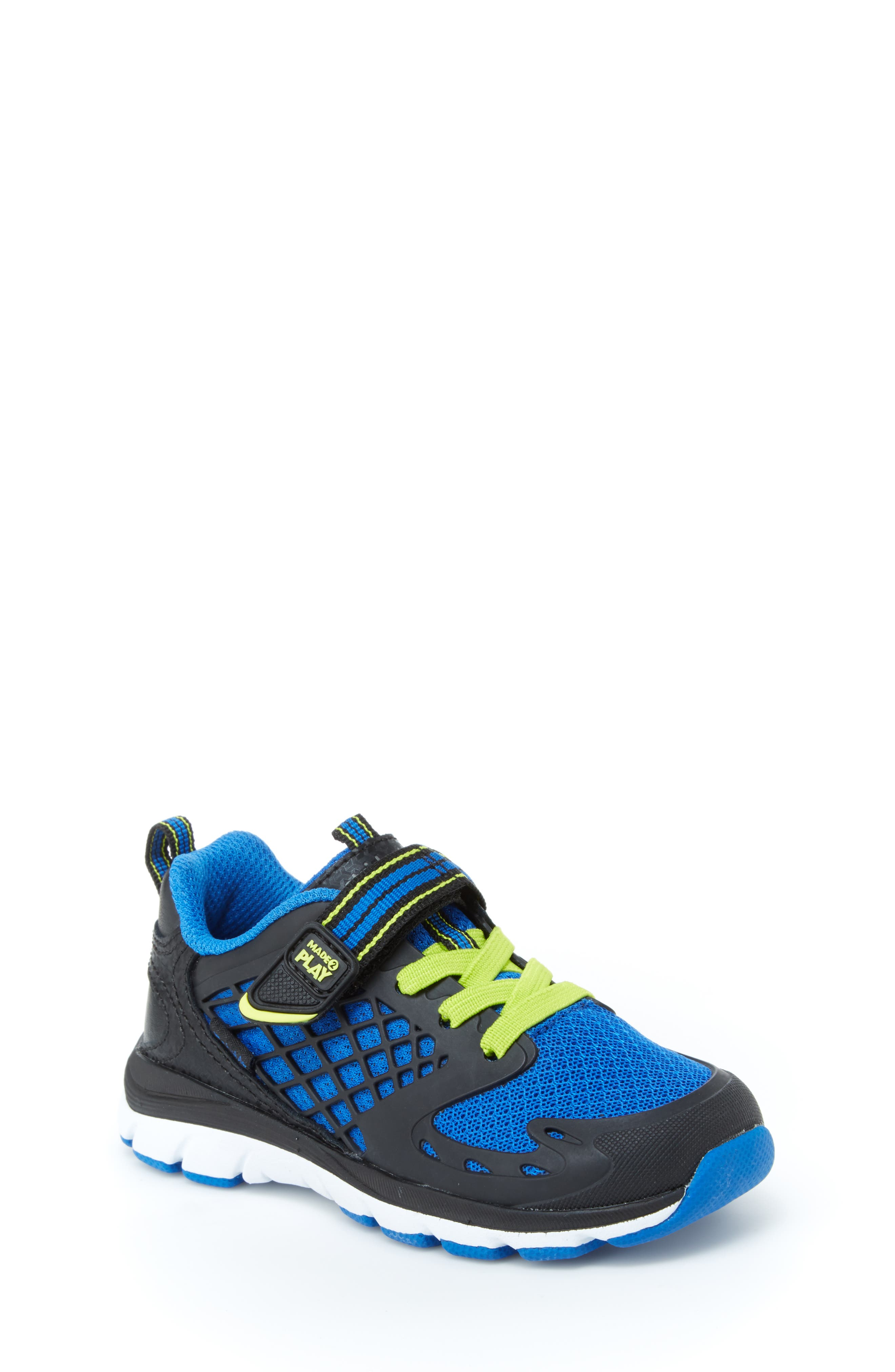 Made 2 Play Breccen Sneaker,                         Main,                         color, BLACK/ LIME