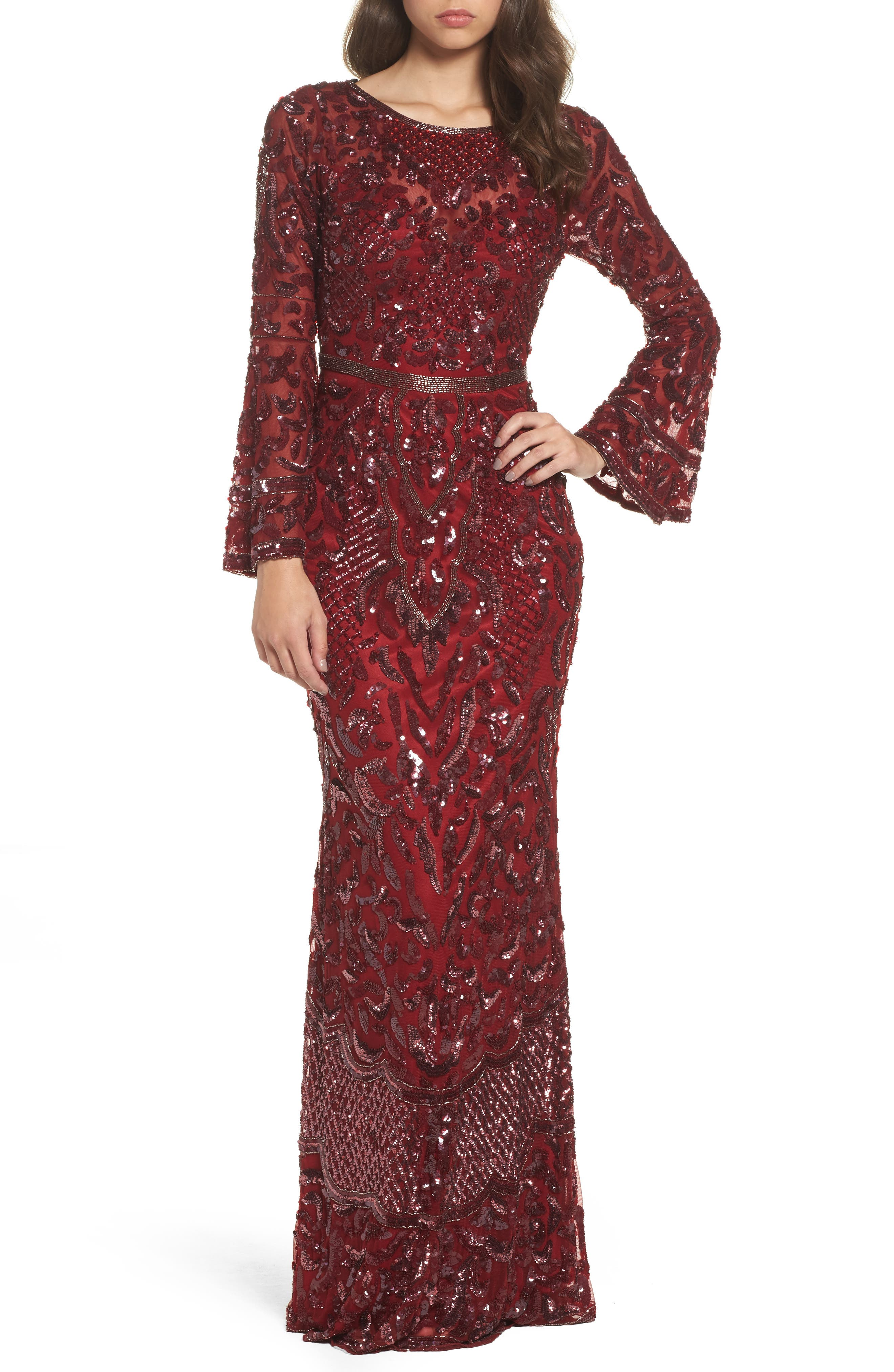 MAC Duggal Sequin Bell Sleeve Gown, Red