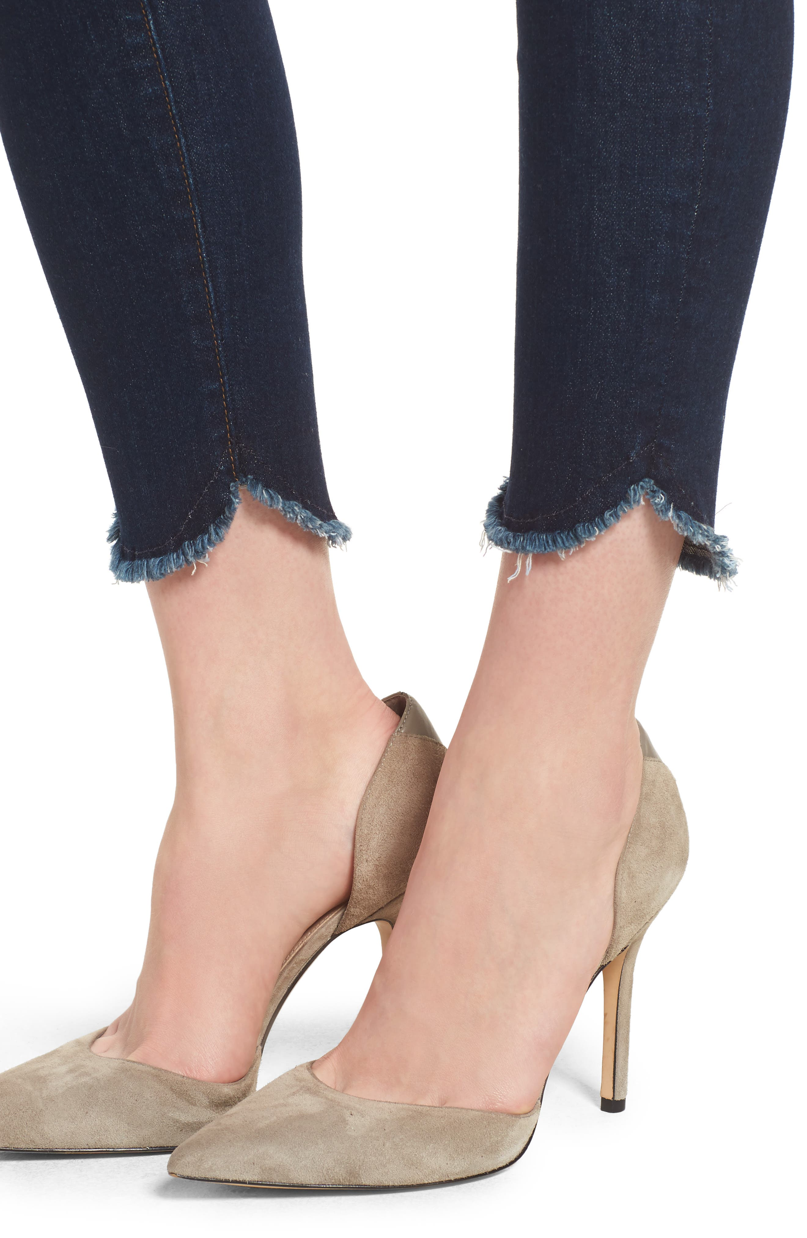 Scallop Hem Ankle Skinny Jeans,                             Alternate thumbnail 4, color,                             MIDNIGHT MOON
