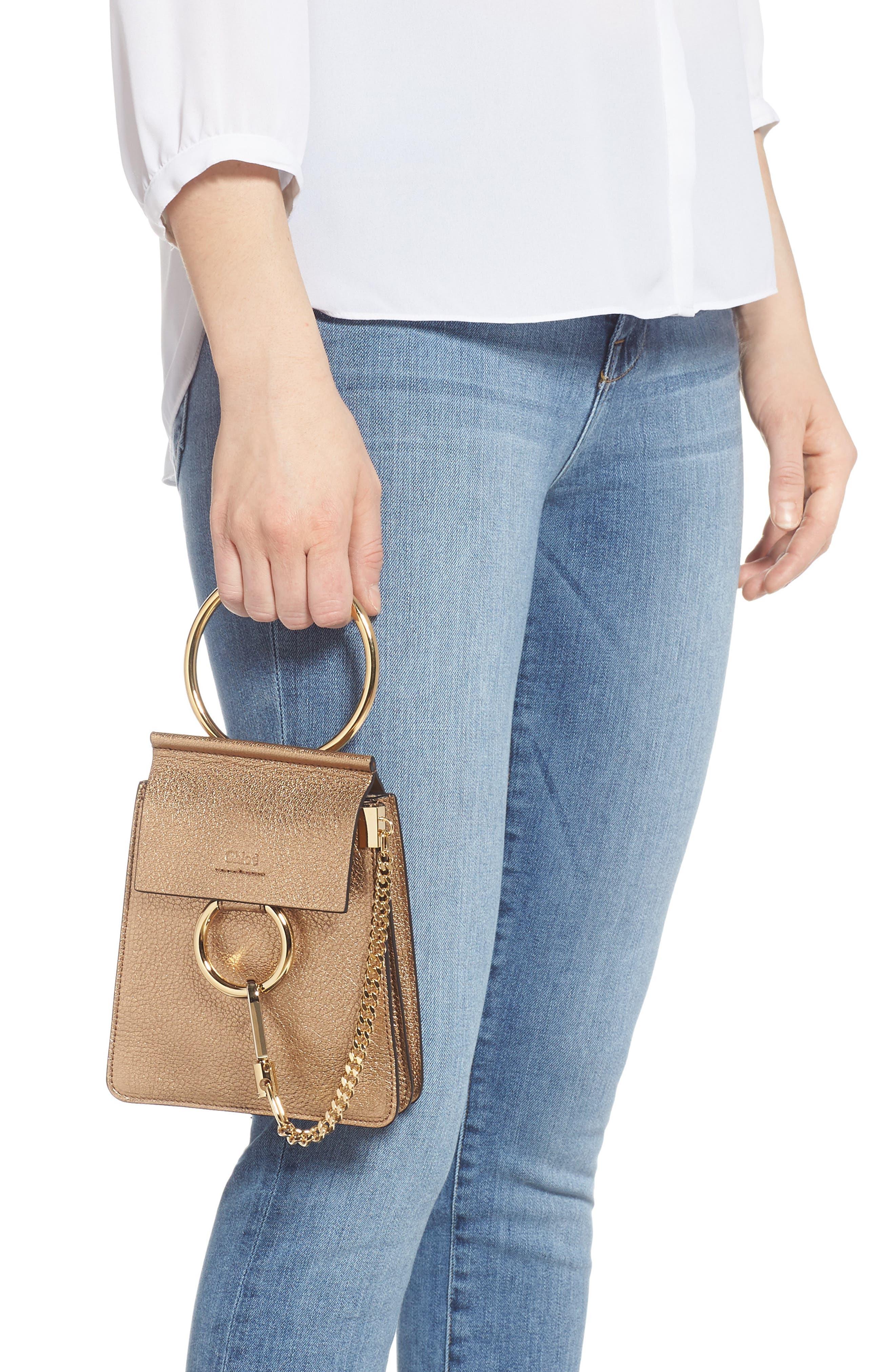 Faye Small Metallic Leather Bracelet Bag,                             Alternate thumbnail 3, color,                             GOLD
