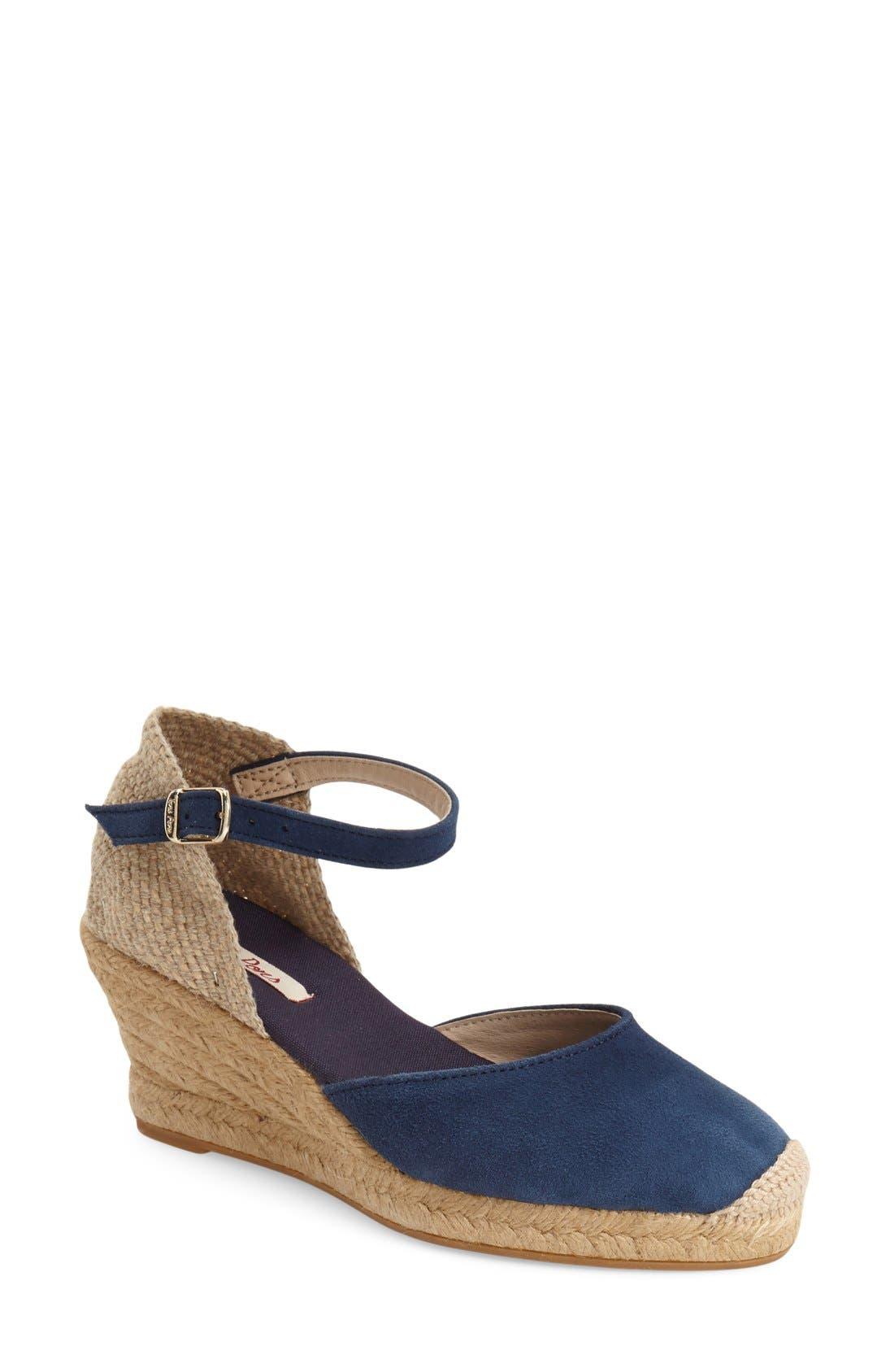 'Lloret-5' Espadrille Wedge Sandal,                             Main thumbnail 1, color,                             NAVY SUEDE