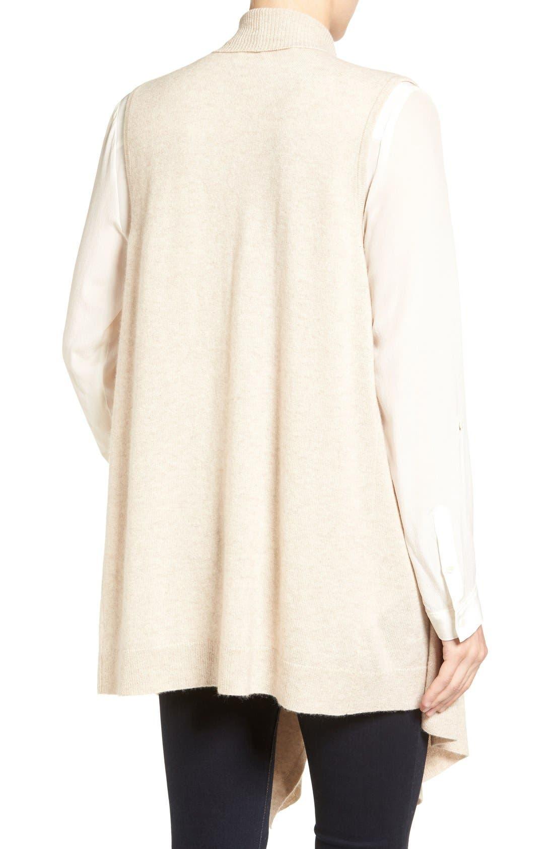 Wool & Cashmere Drape Front Sweater Vest,                             Alternate thumbnail 14, color,