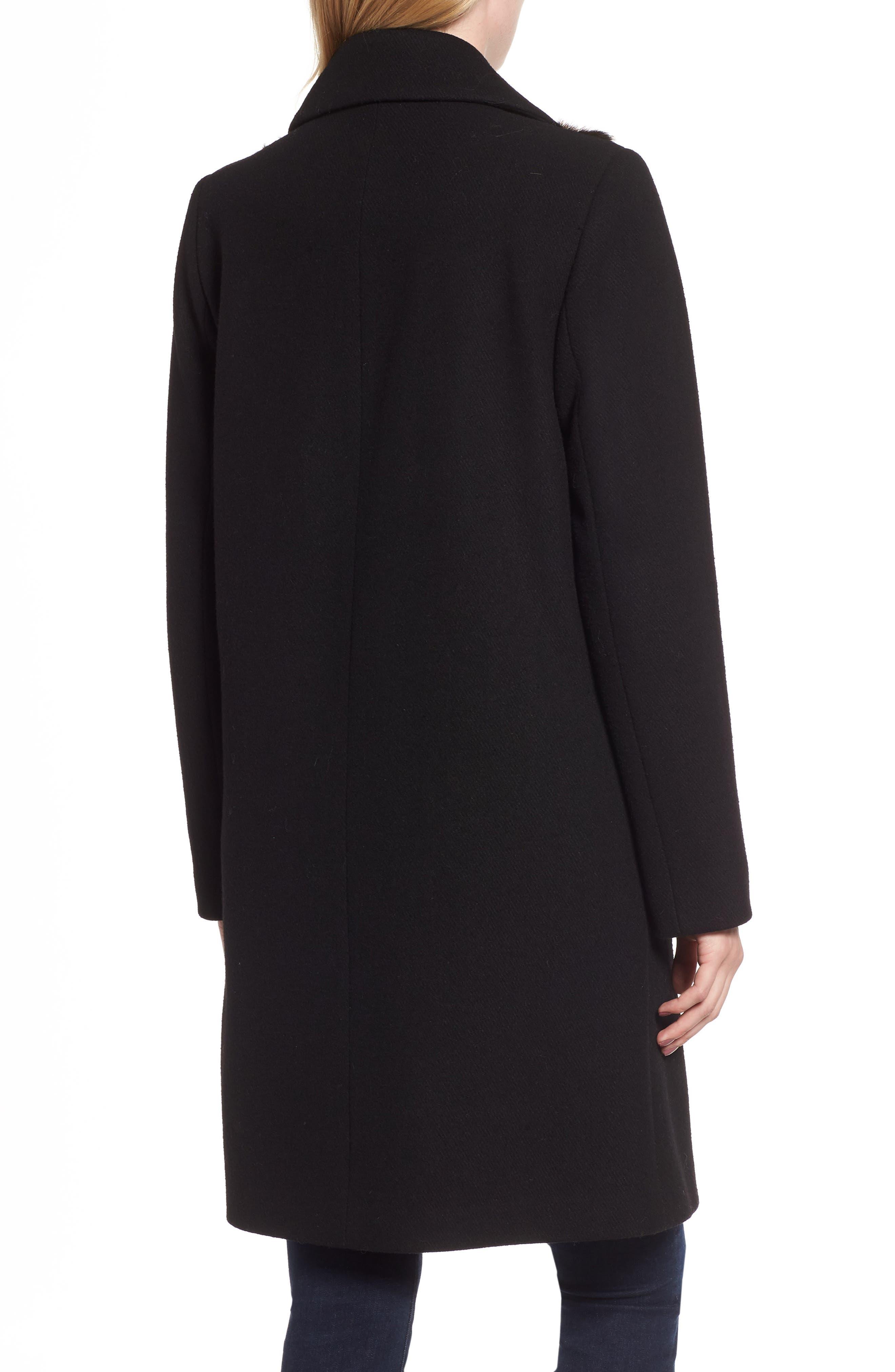 Faux Fur Panel Wool Blend Coat,                             Alternate thumbnail 2, color,                             BLACK
