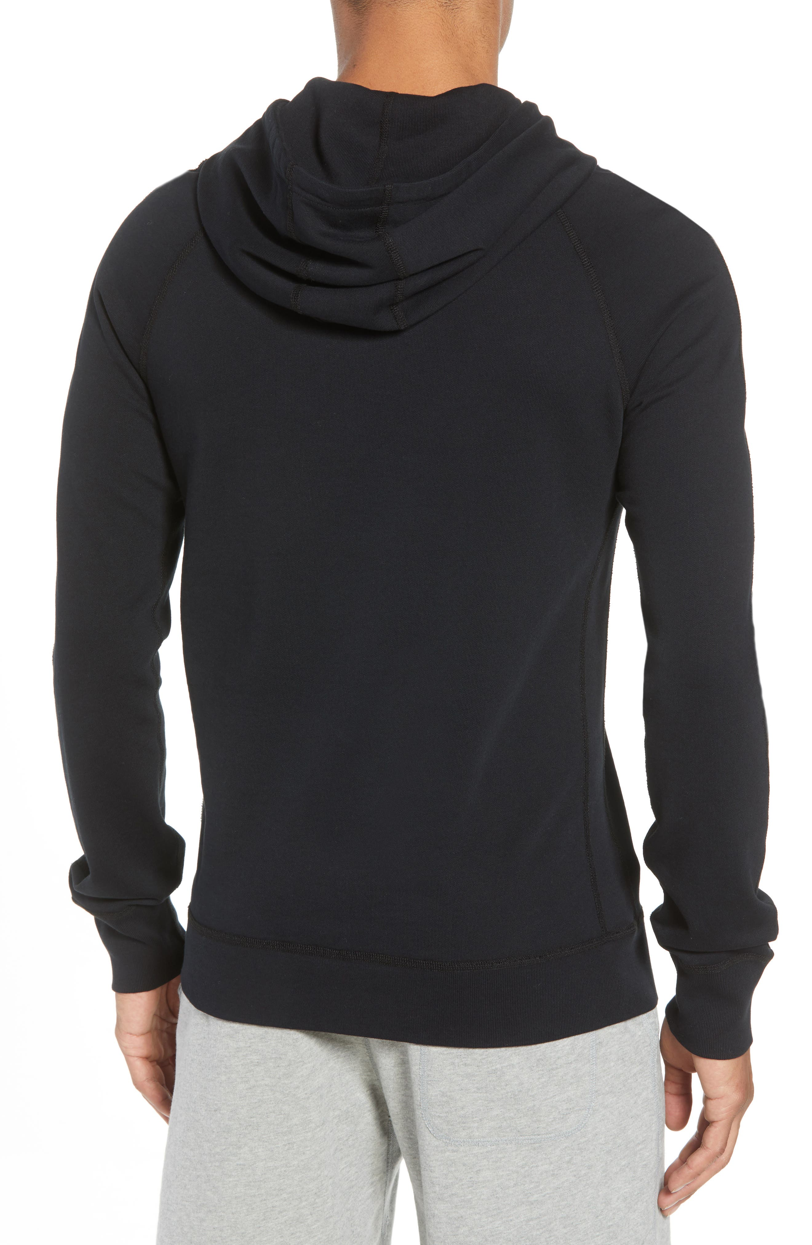 Classic Fit Hooded Pullover,                             Alternate thumbnail 2, color,                             BLACK