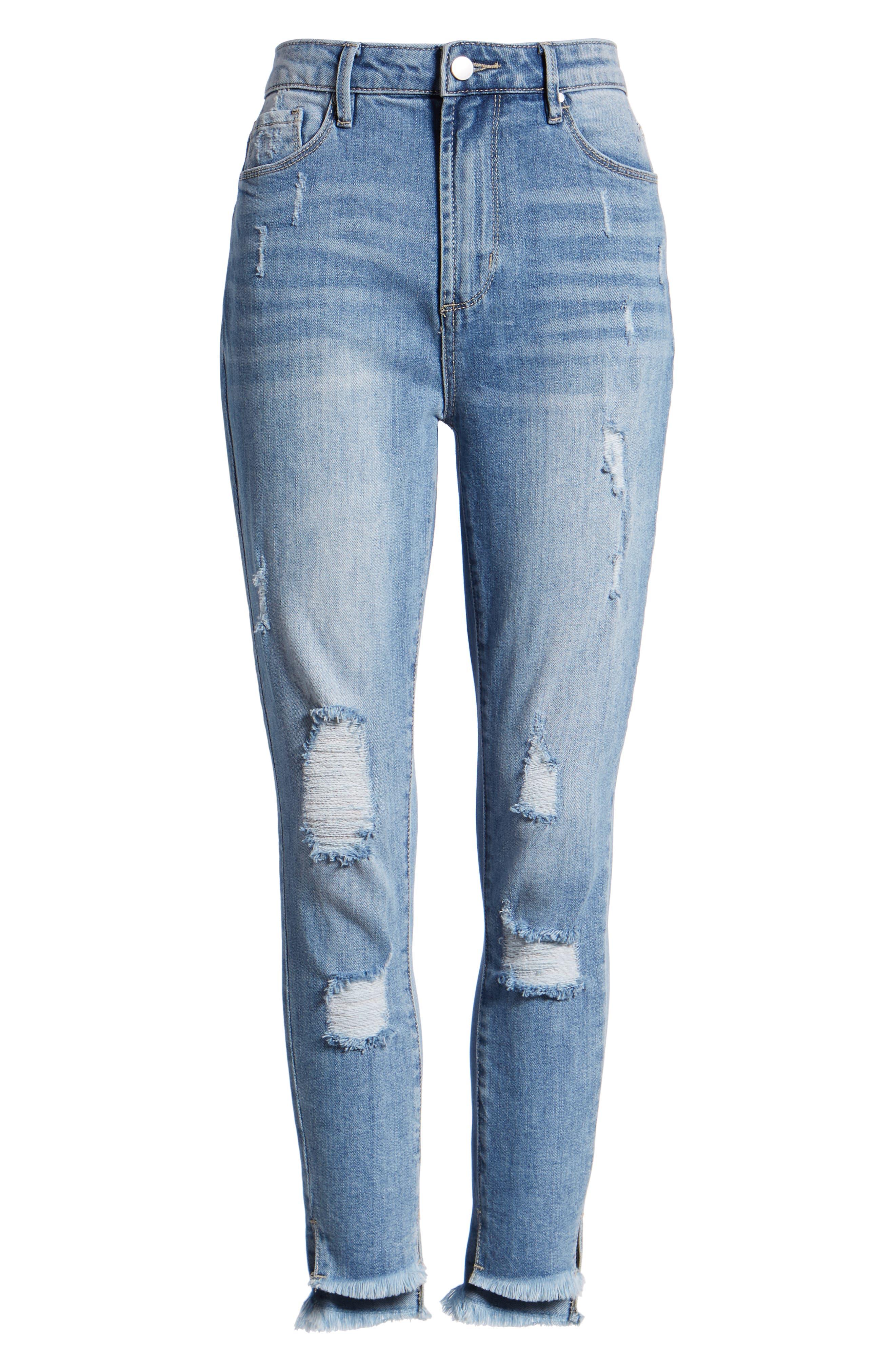 Ripped High Waist Step Hem Skinny Jeans,                             Alternate thumbnail 7, color,                             400