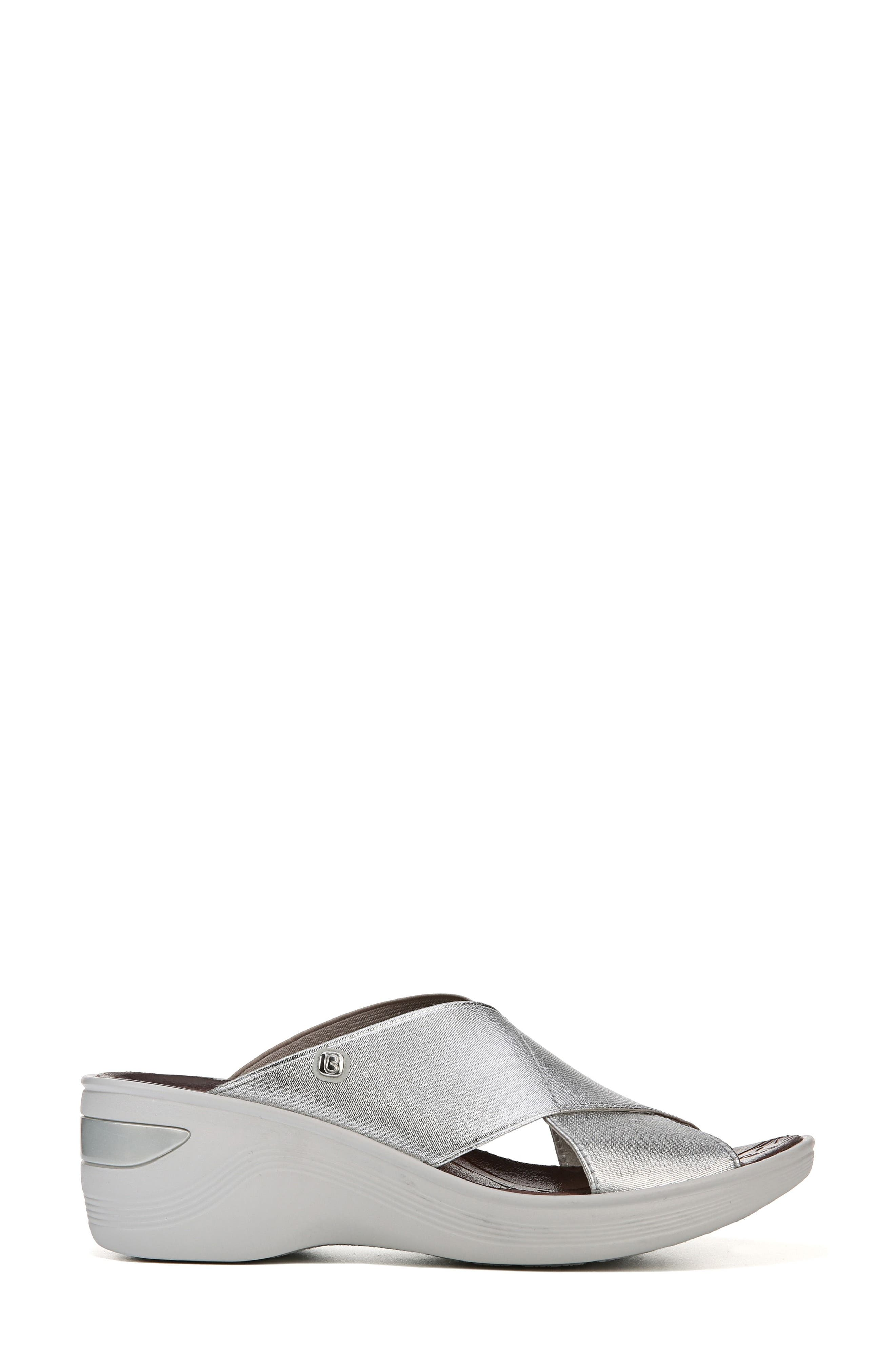 'Desire' Wedge Sandal,                             Alternate thumbnail 3, color,                             SILVER METALLIC