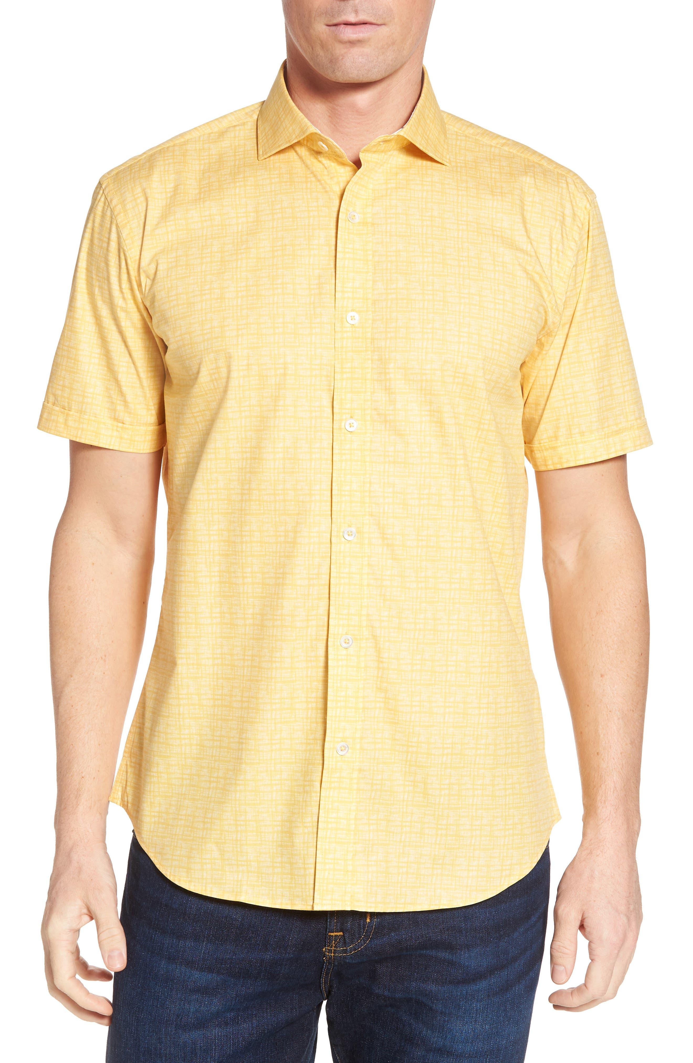 men's bugatchi freehand shaped fit sport shirt, size small - yellow