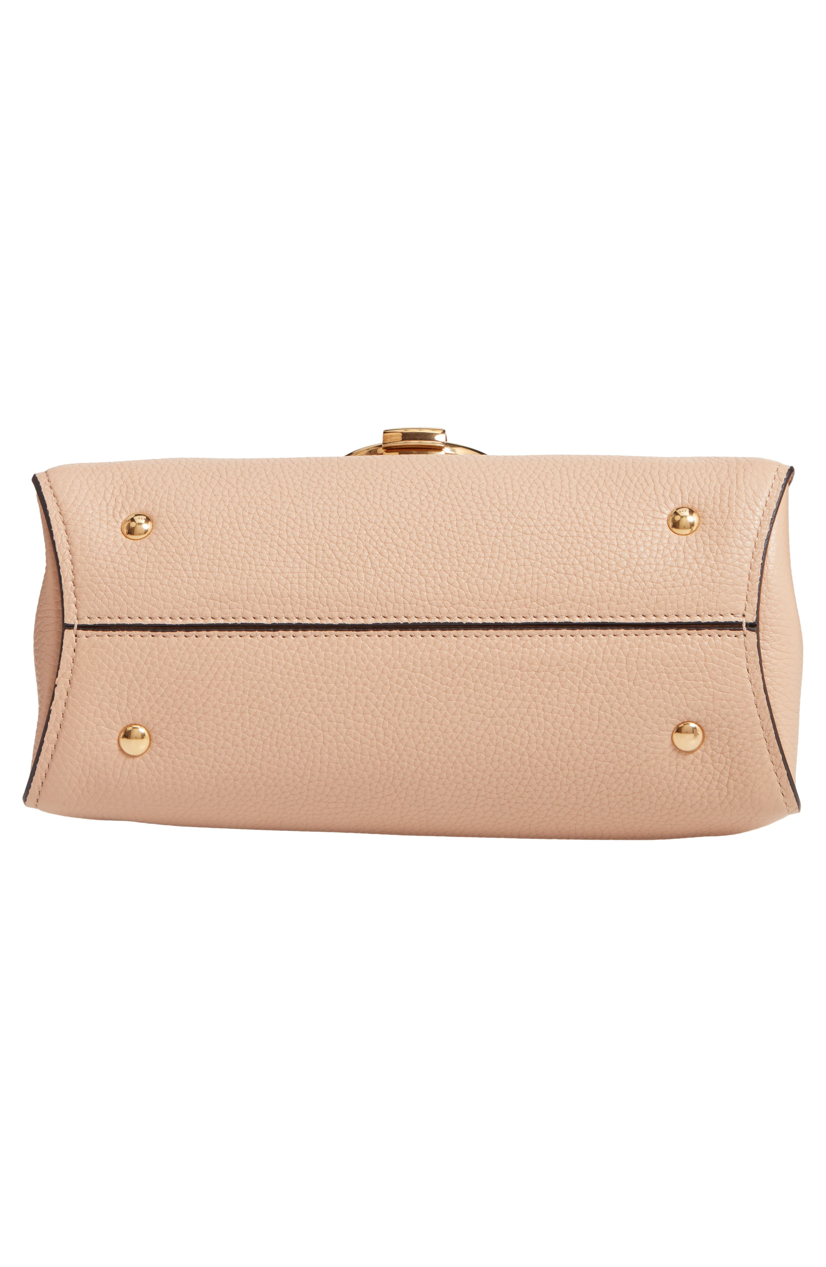 Small Margot Leather Top Handle Bag,                             Alternate thumbnail 6, color,                             ALMOND