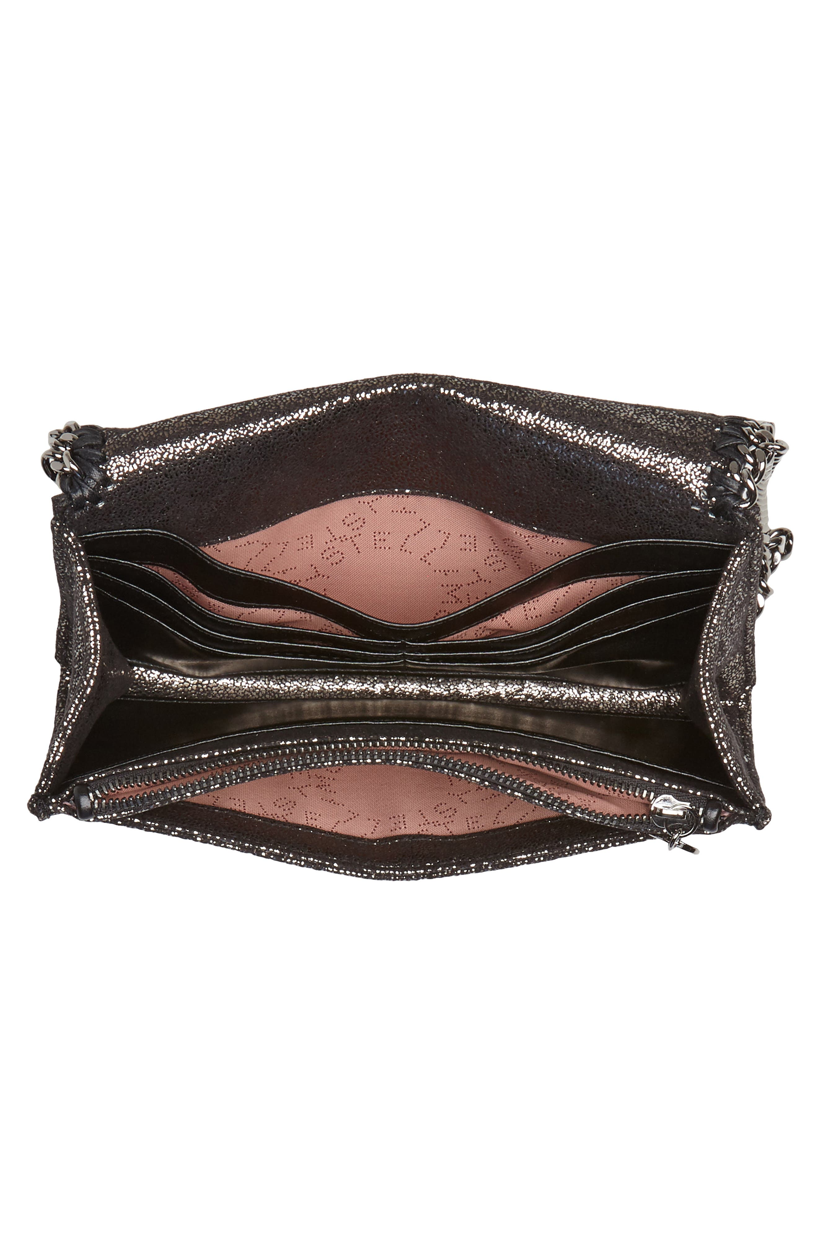 Falabella Metallic Faux Chamois Crossbody Bag,                             Alternate thumbnail 4, color,                             041