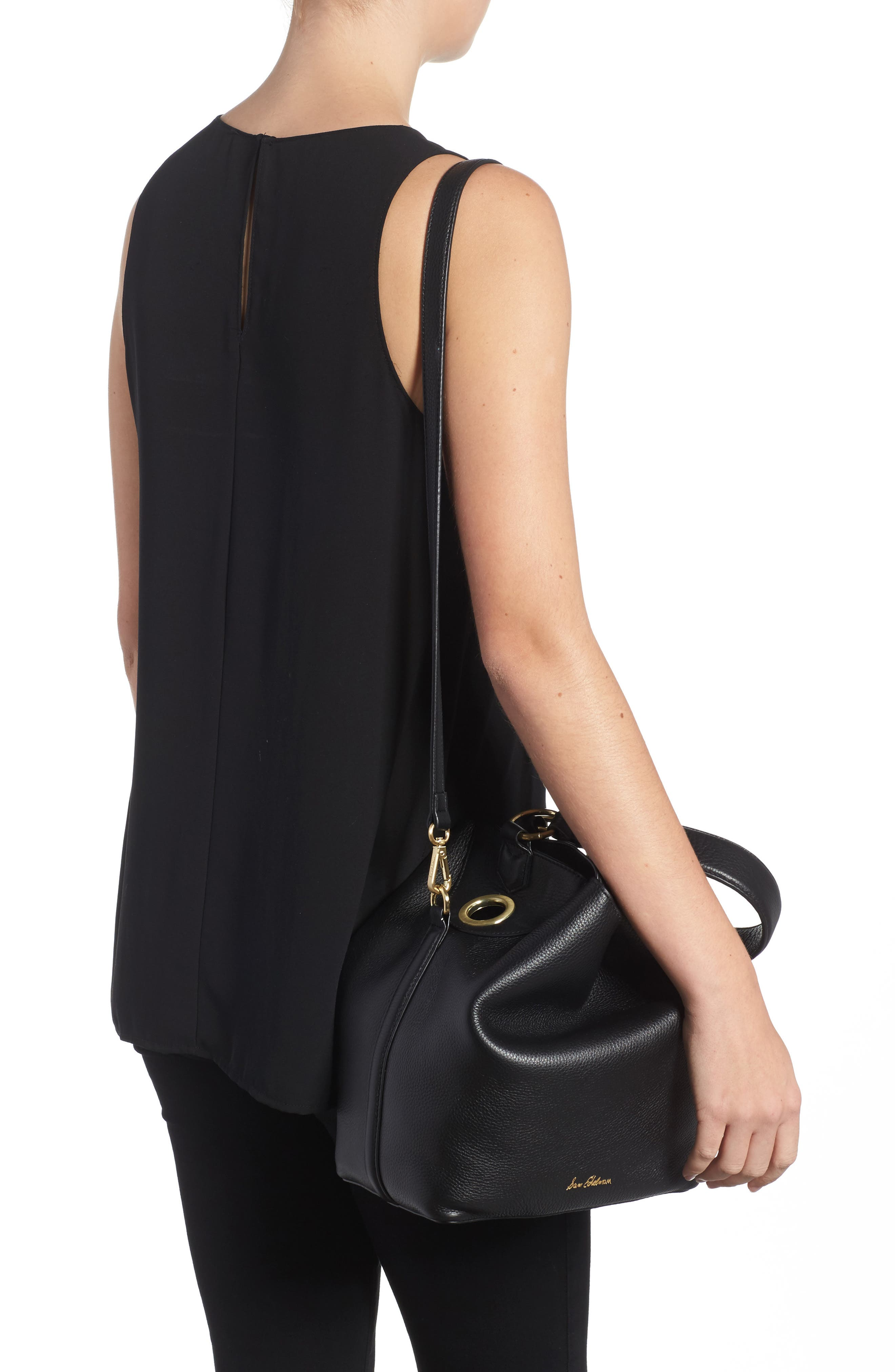 Renee Leather Bucket Bag,                             Alternate thumbnail 2, color,                             001