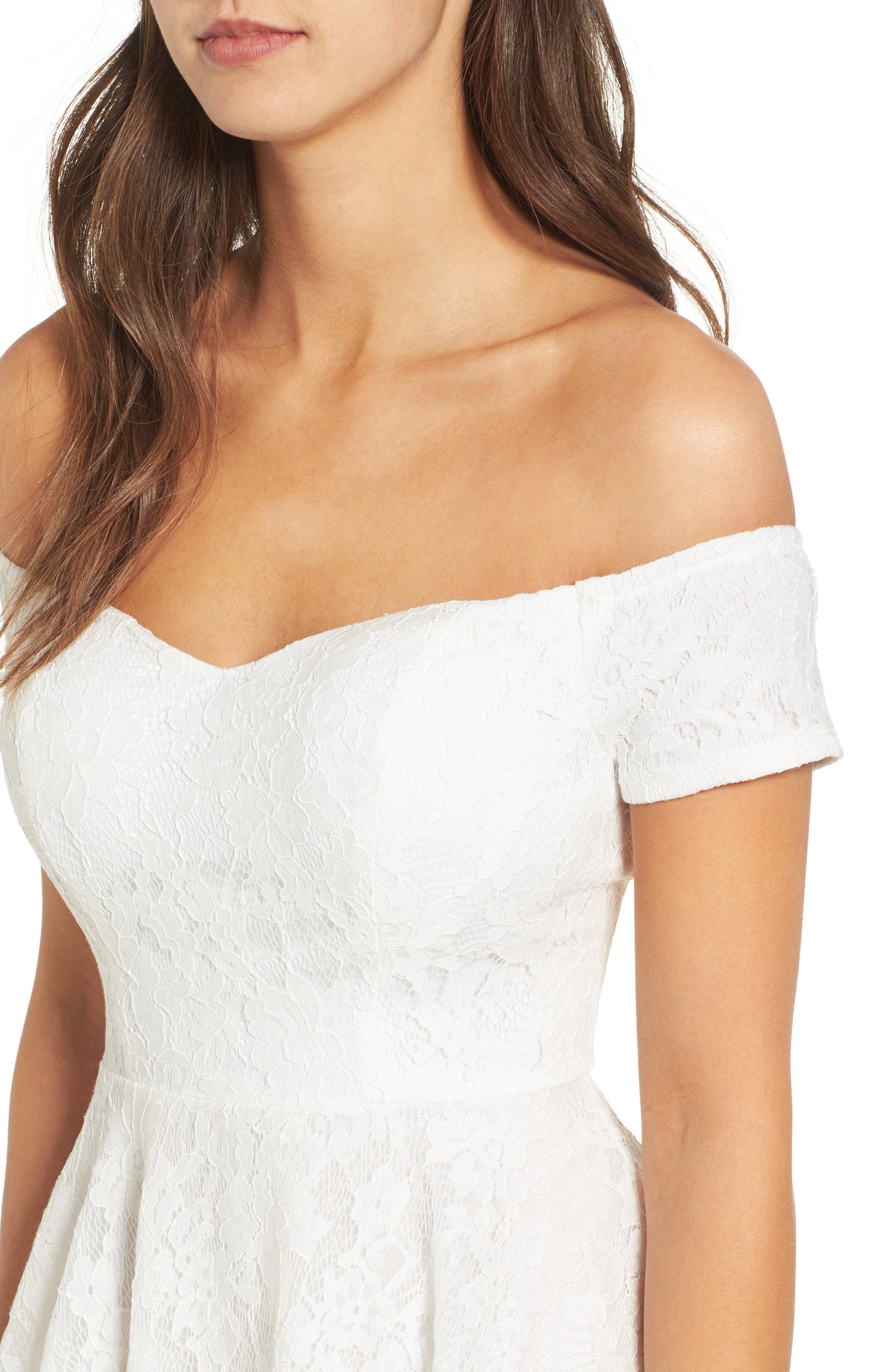 Lace Off the Shoulder Fit & Flare Dress,                             Alternate thumbnail 28, color,