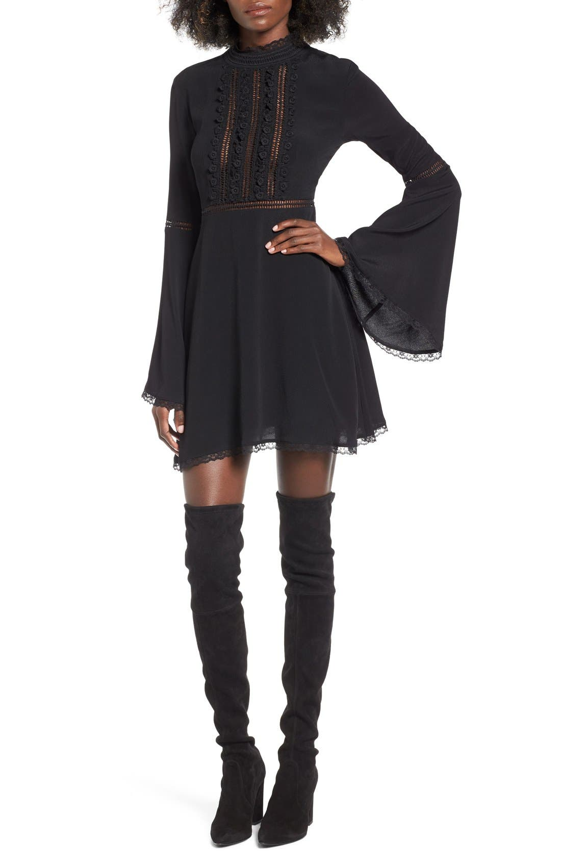 Willow Bell Sleeve Babydoll Dress, Main, color, 001