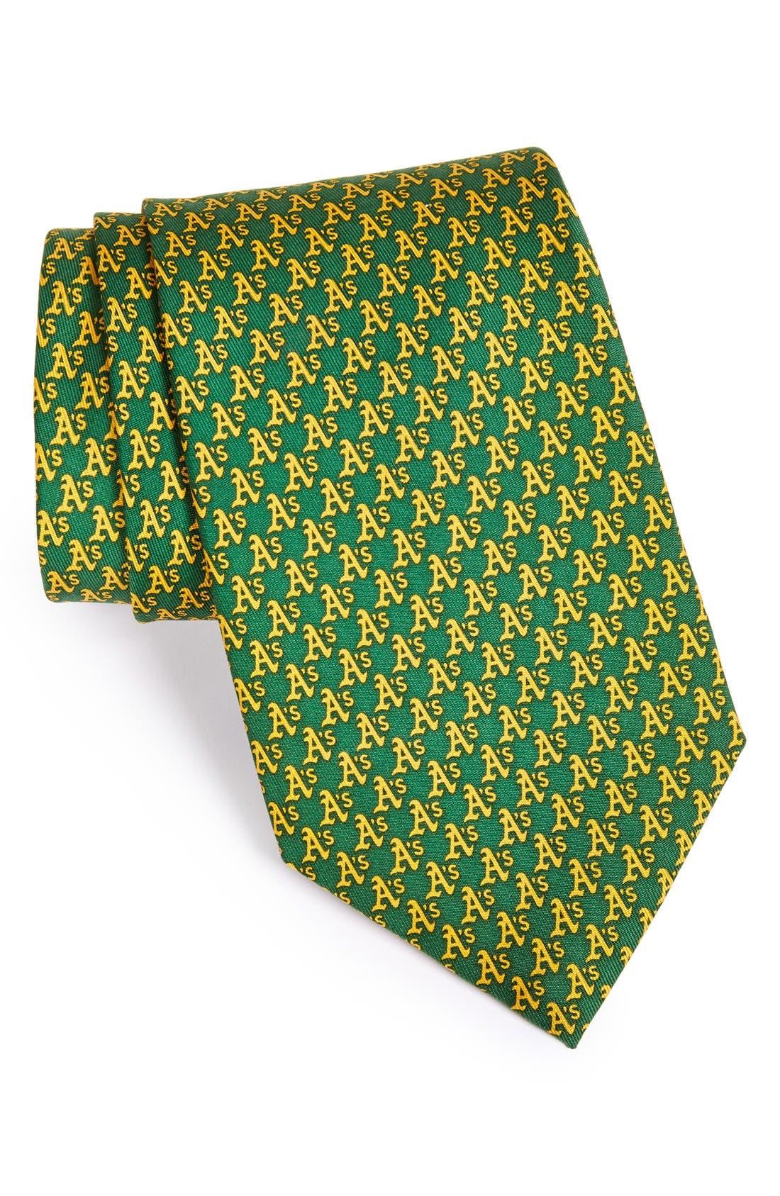 Oakland Athletics - MLB Woven Silk Tie,                             Main thumbnail 1, color,                             GREEN