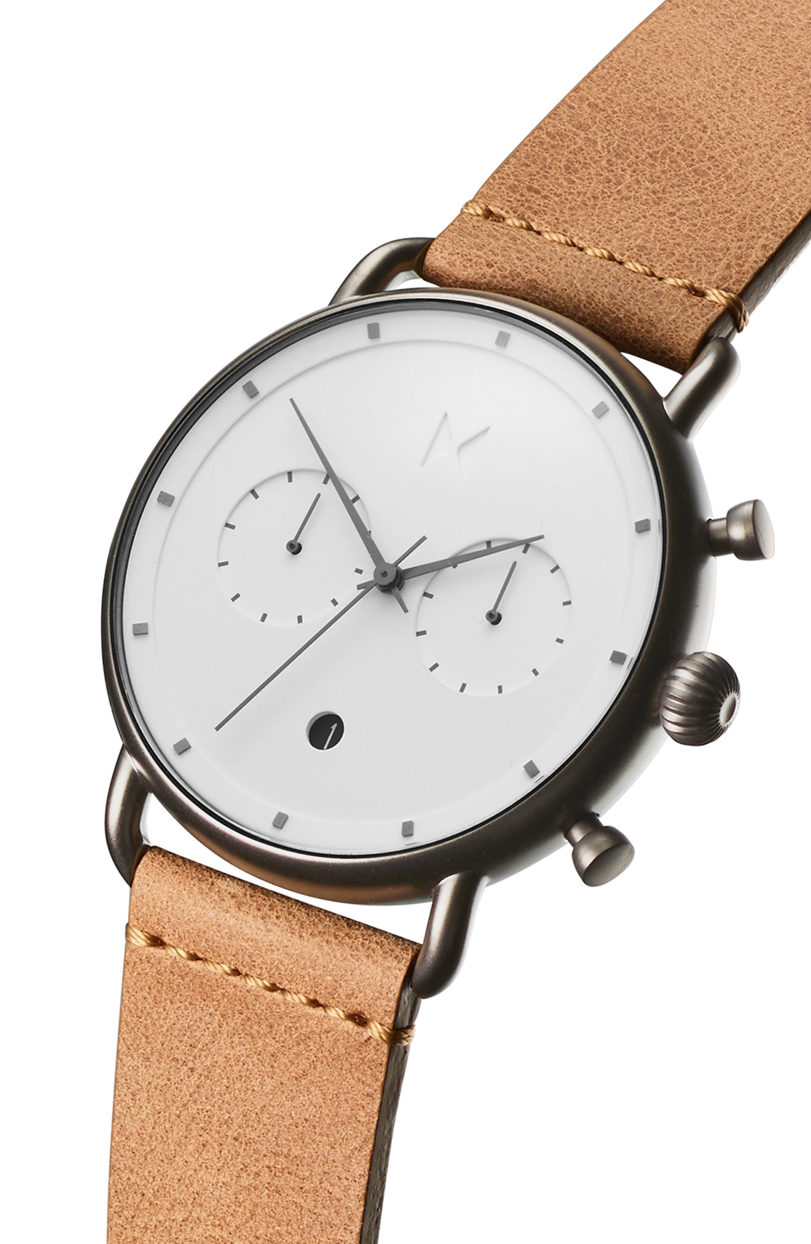 Blacktop Chronograph Leather Strap Watch,                             Alternate thumbnail 3, color,                             WHITE/ CARAMEL