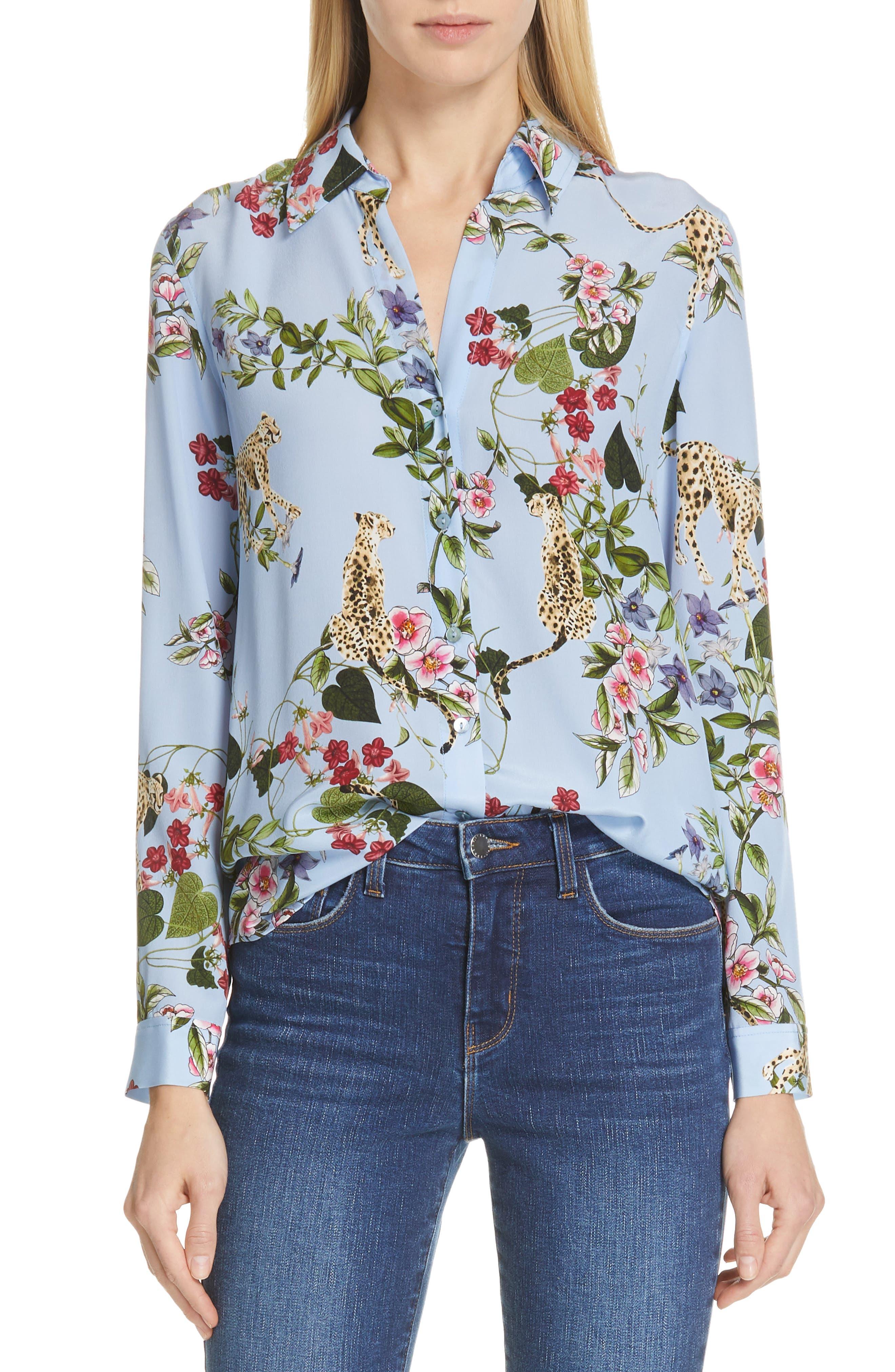 Nina Cheetah & Floral Print Silk Blouse, Main, color, SKY BLUE MULTI