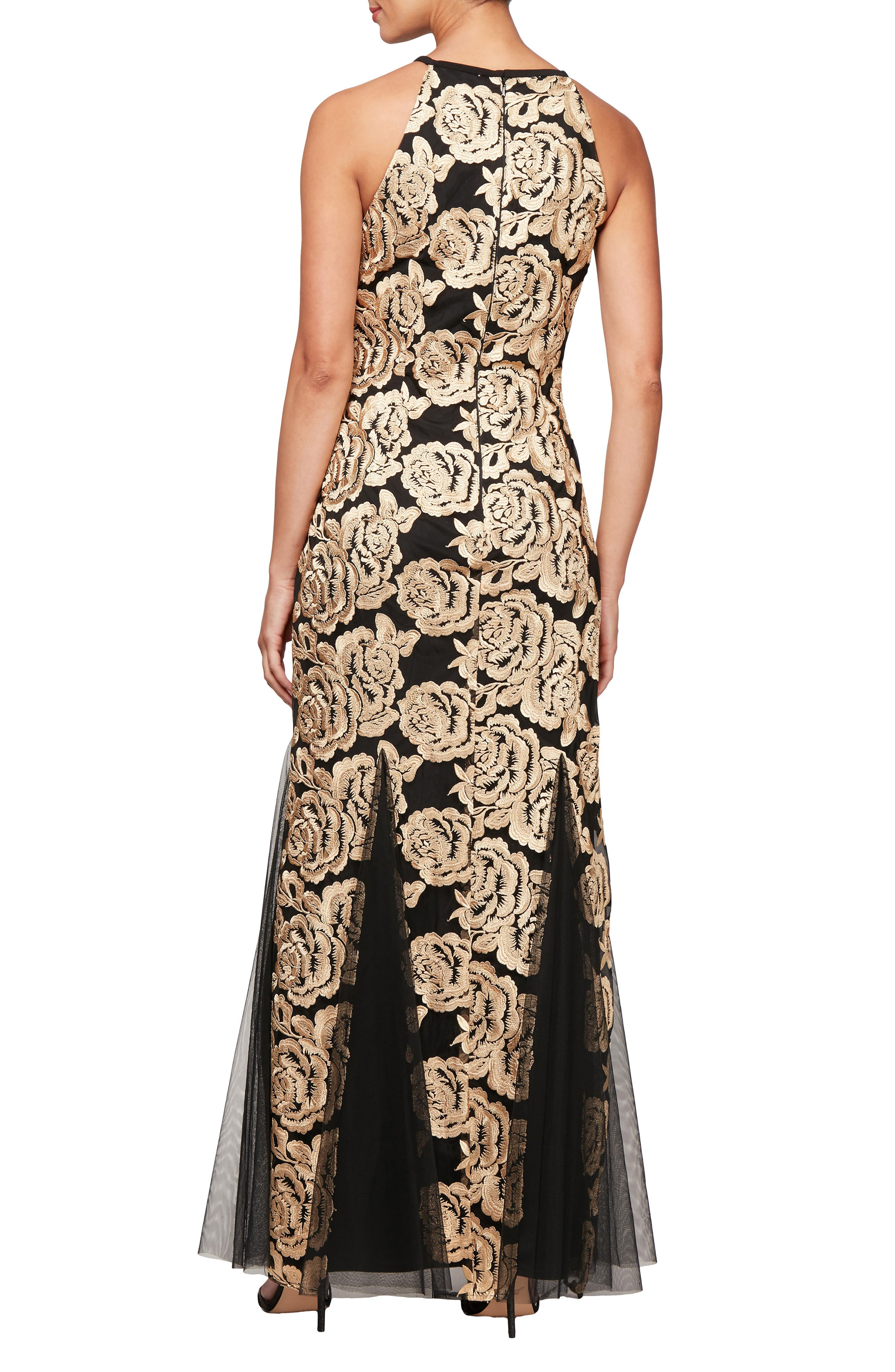 Flower Embroidered Gown,                             Alternate thumbnail 2, color,                             BLACK GOLD