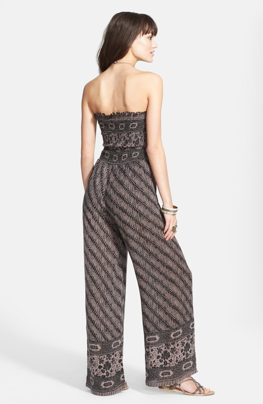 Strapless Smocked Jumpsuit,                             Alternate thumbnail 2, color,                             001
