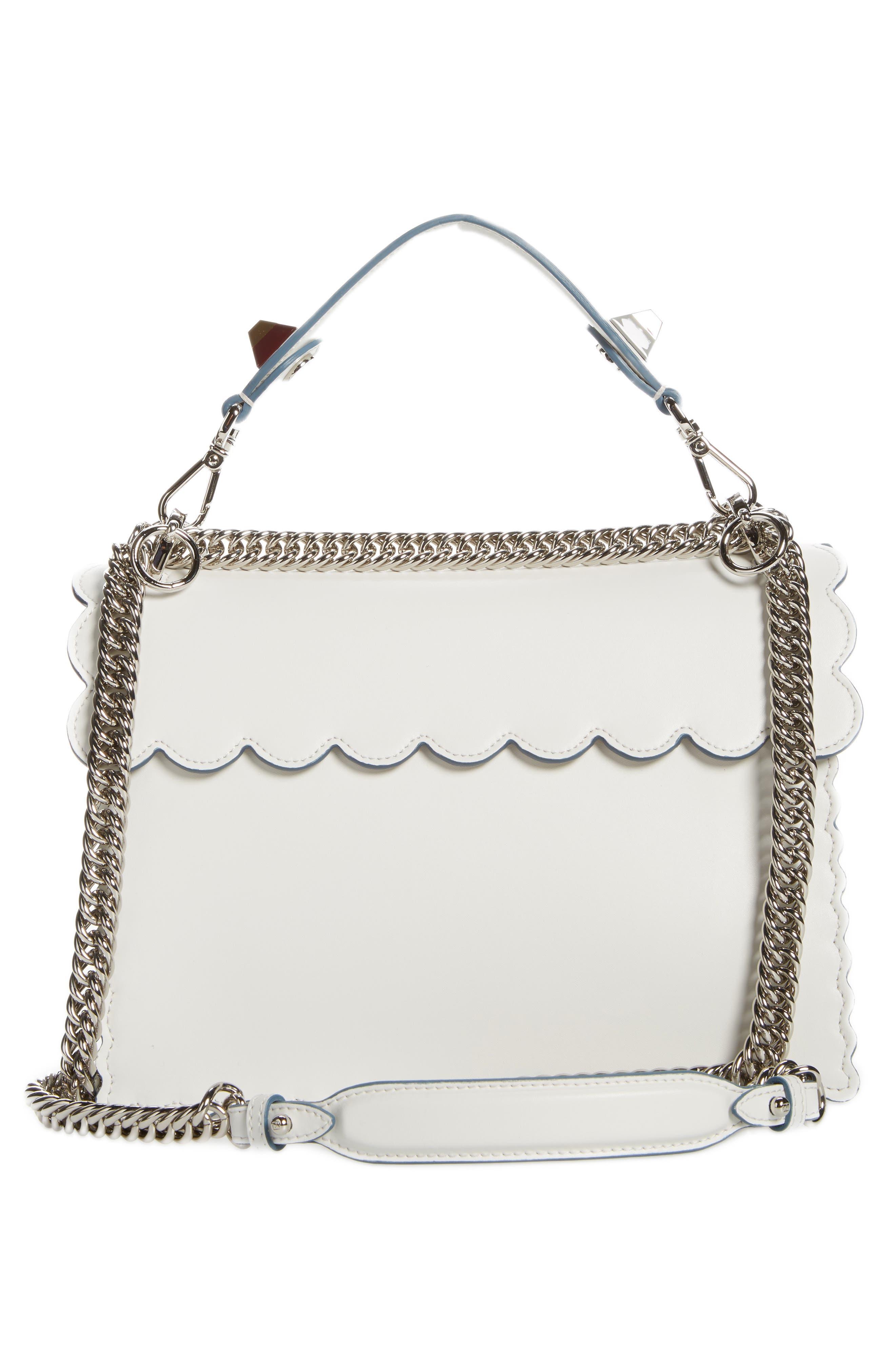 Kan I Scallop Leather Shoulder Bag,                             Alternate thumbnail 3, color,                             WHITE
