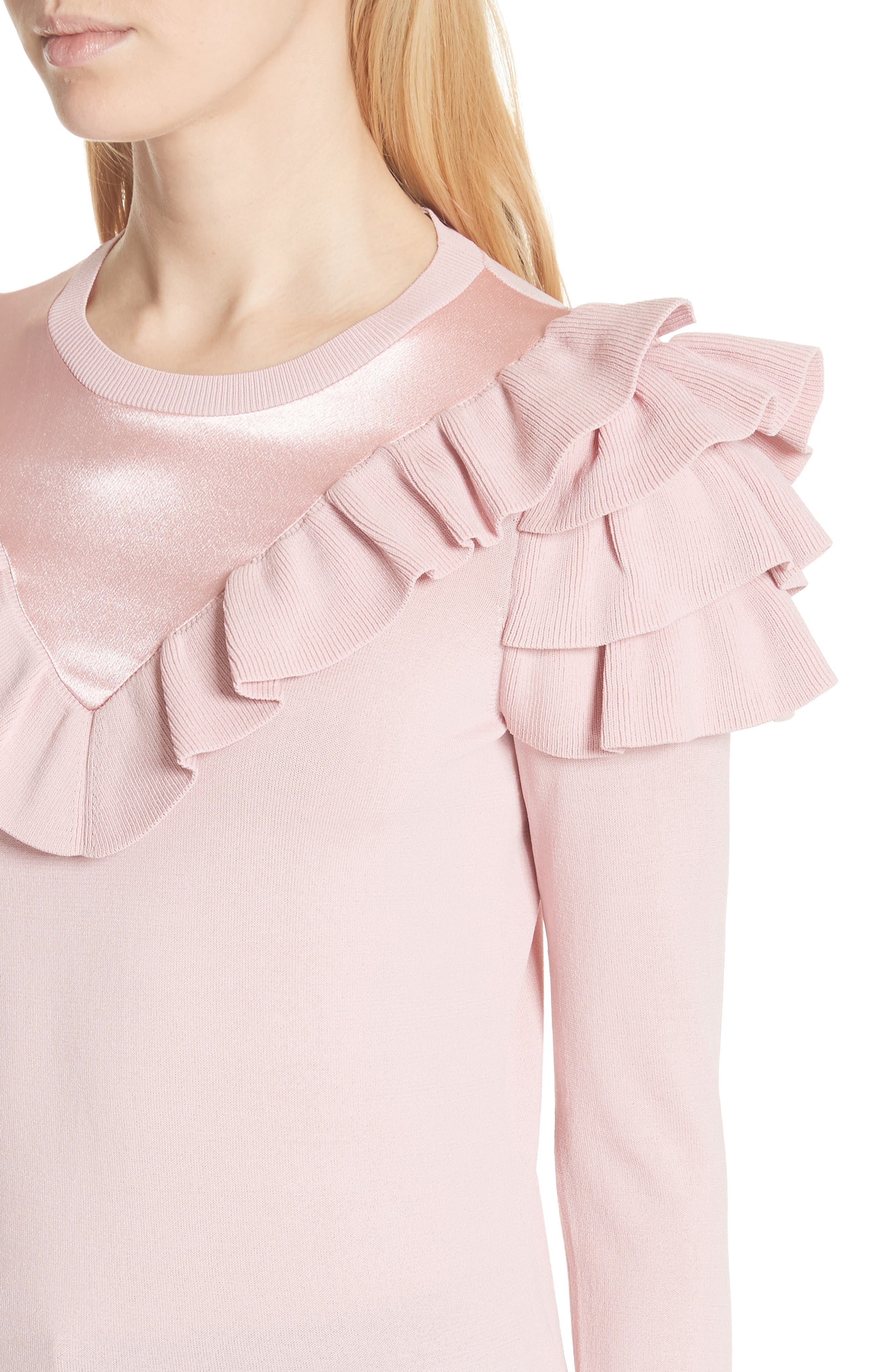 Satin Contrast Ruffle Sweater,                             Alternate thumbnail 4, color,                             652