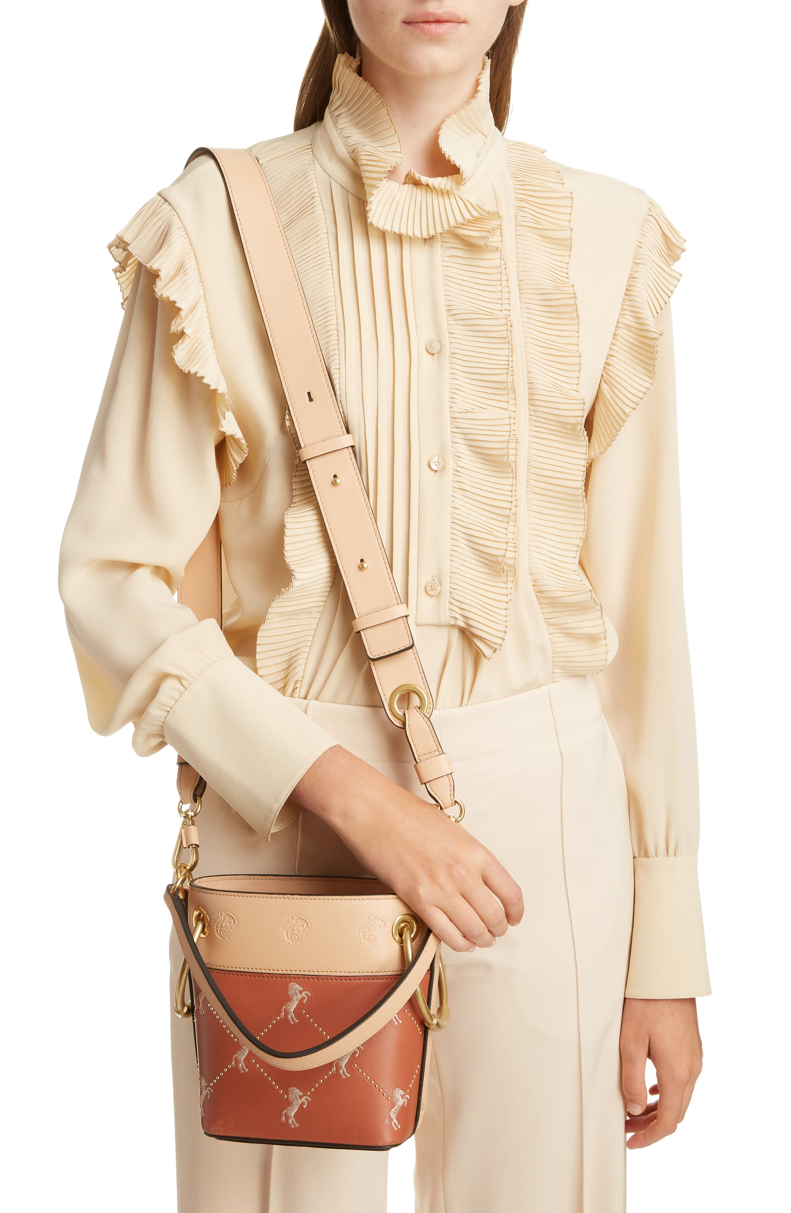 Roy Small Embroidered Leather Bucket Bag,                             Alternate thumbnail 2, color,                             CHESTNUT BROWN
