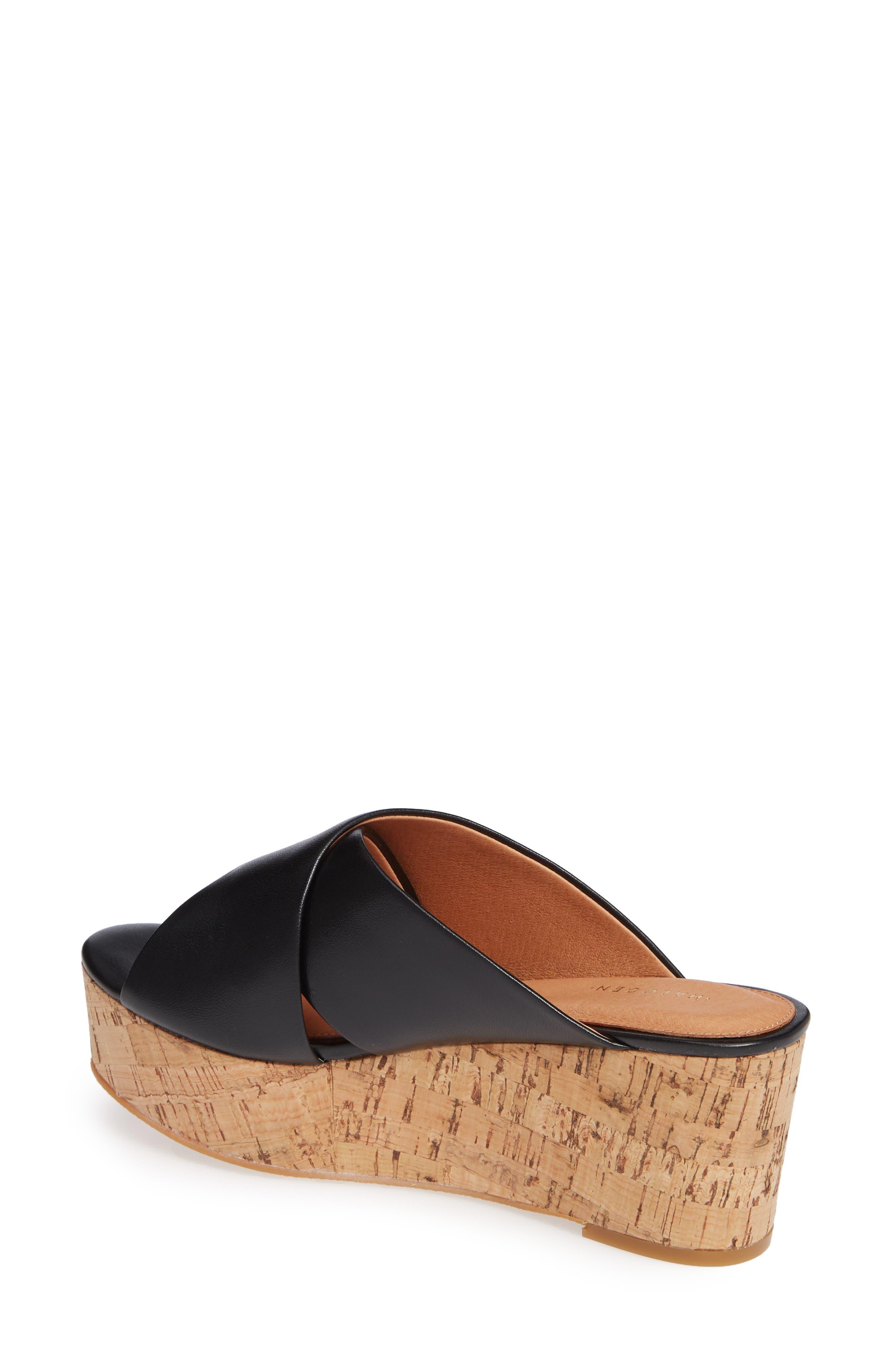 Elena Platform Wedge Sandal,                             Alternate thumbnail 2, color,                             BLACK LEATHER