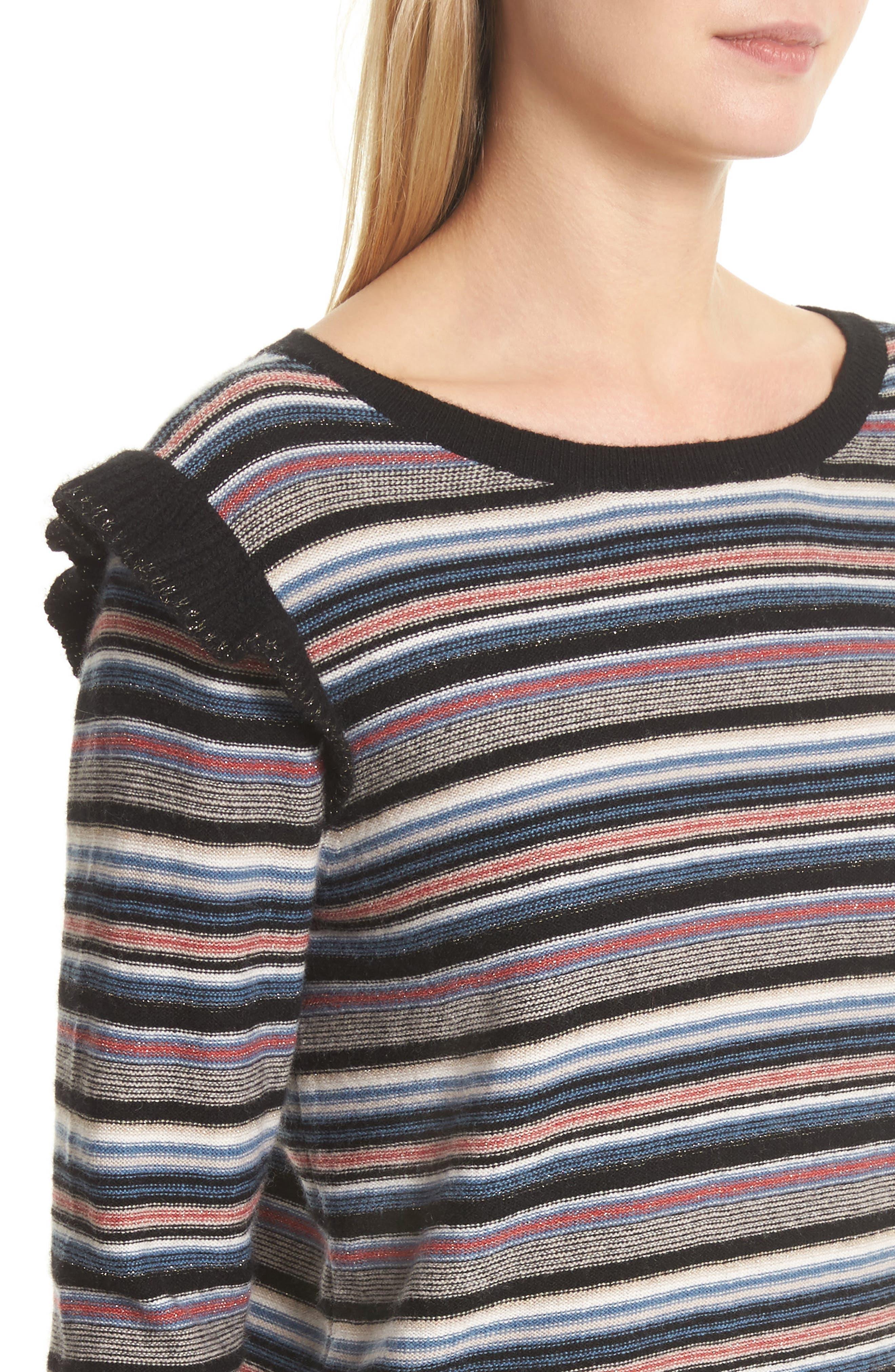 Cais C Stripe Wool & Cashmere Sweater,                             Alternate thumbnail 4, color,                             001