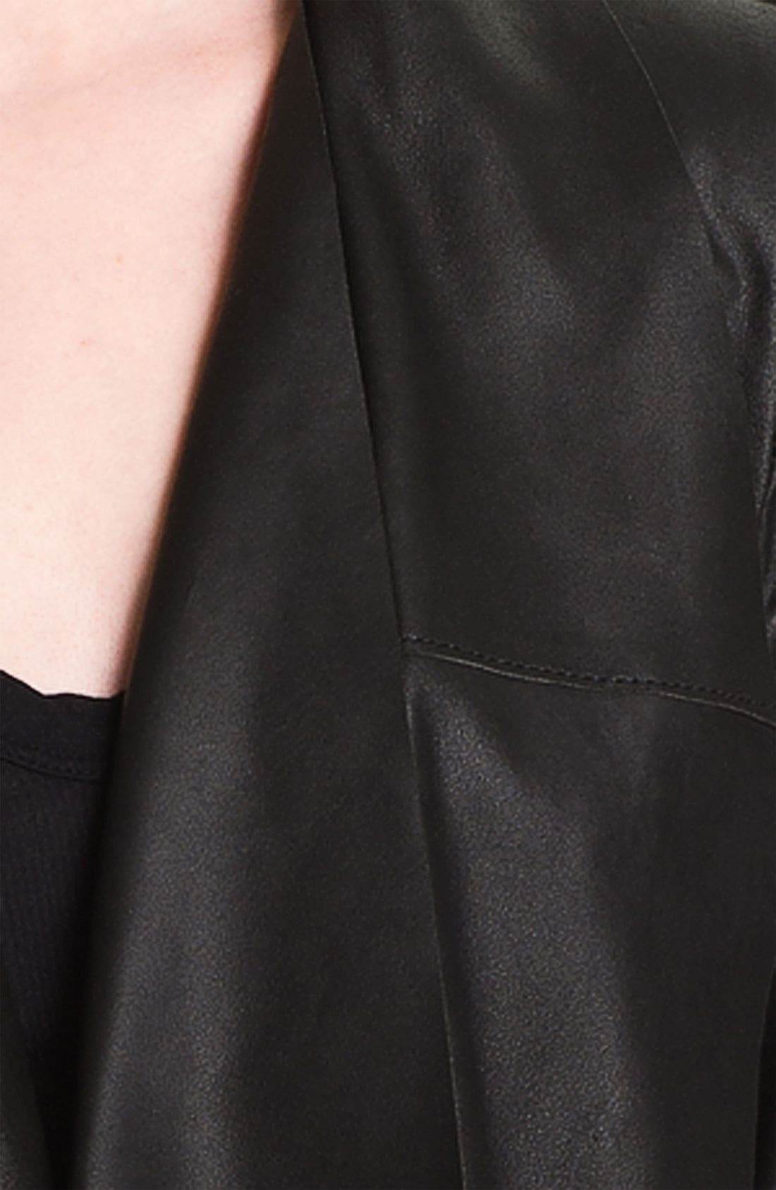 Drape Collar Leather Jacket,                             Alternate thumbnail 3, color,                             001