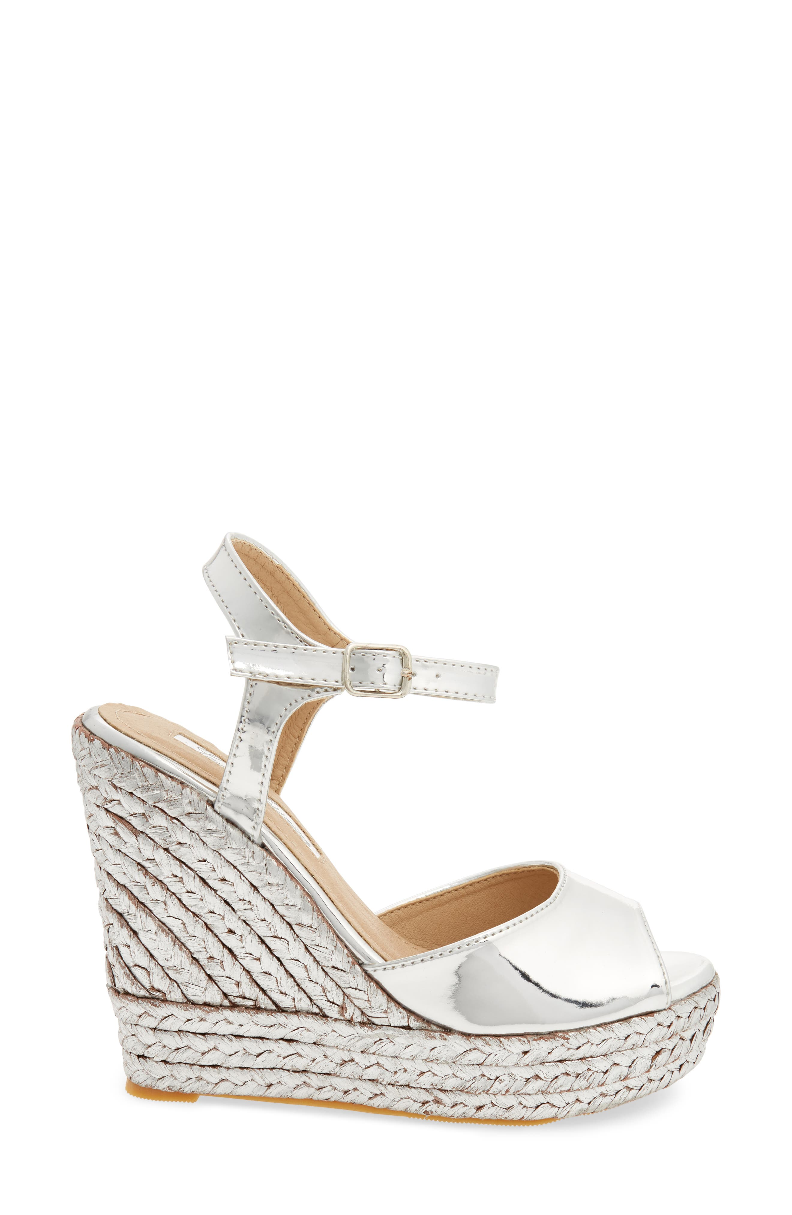 Lina Platform Wedge Sandal,                             Alternate thumbnail 3, color,                             SILVER