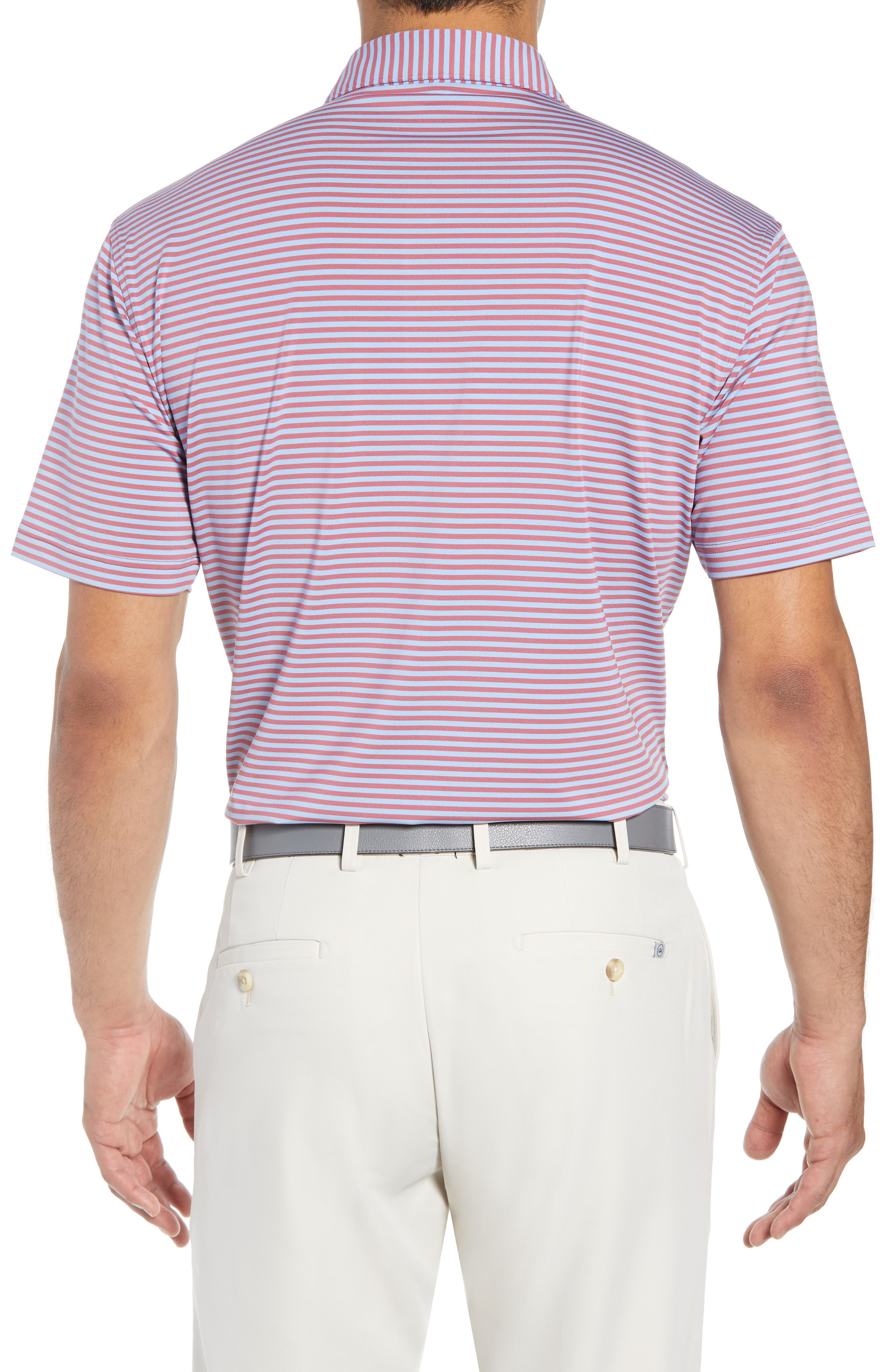 Competition Stripe Performance Polo,                             Alternate thumbnail 2, color,                             RADISH/ COTTAGE BLUE