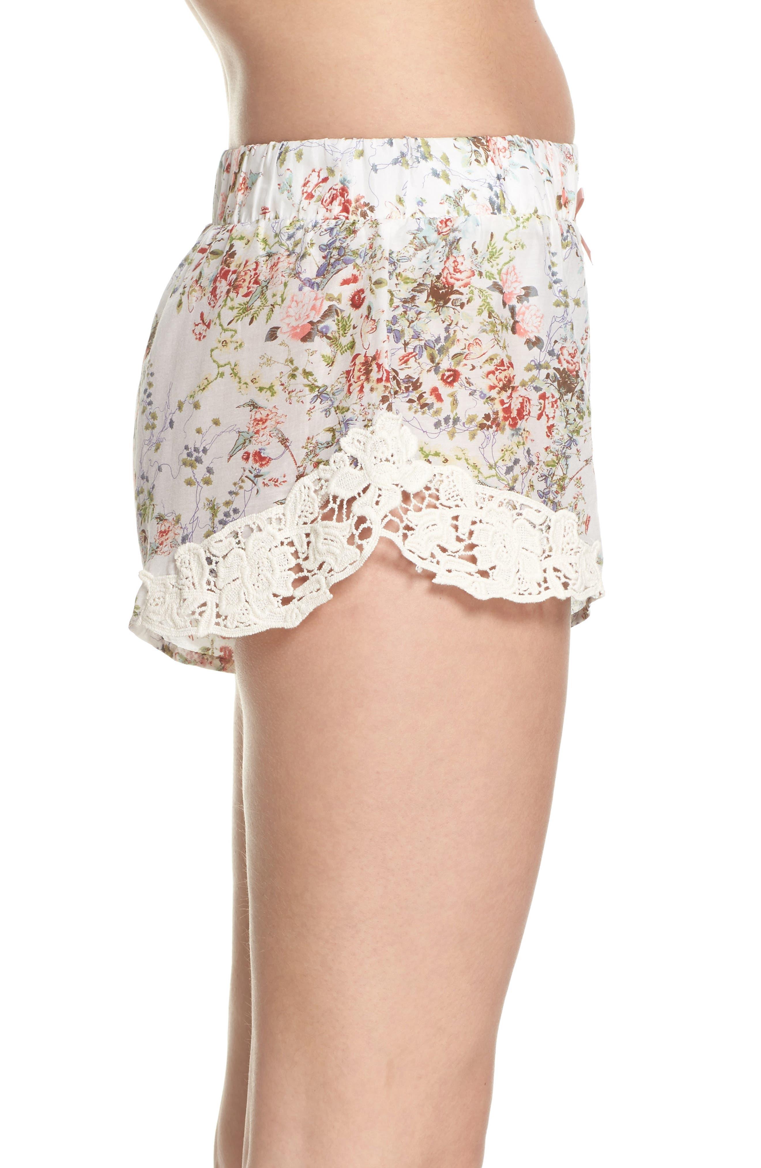 Yolly Floral Pajama Shorts,                             Alternate thumbnail 3, color,                             IVORY FLORAL