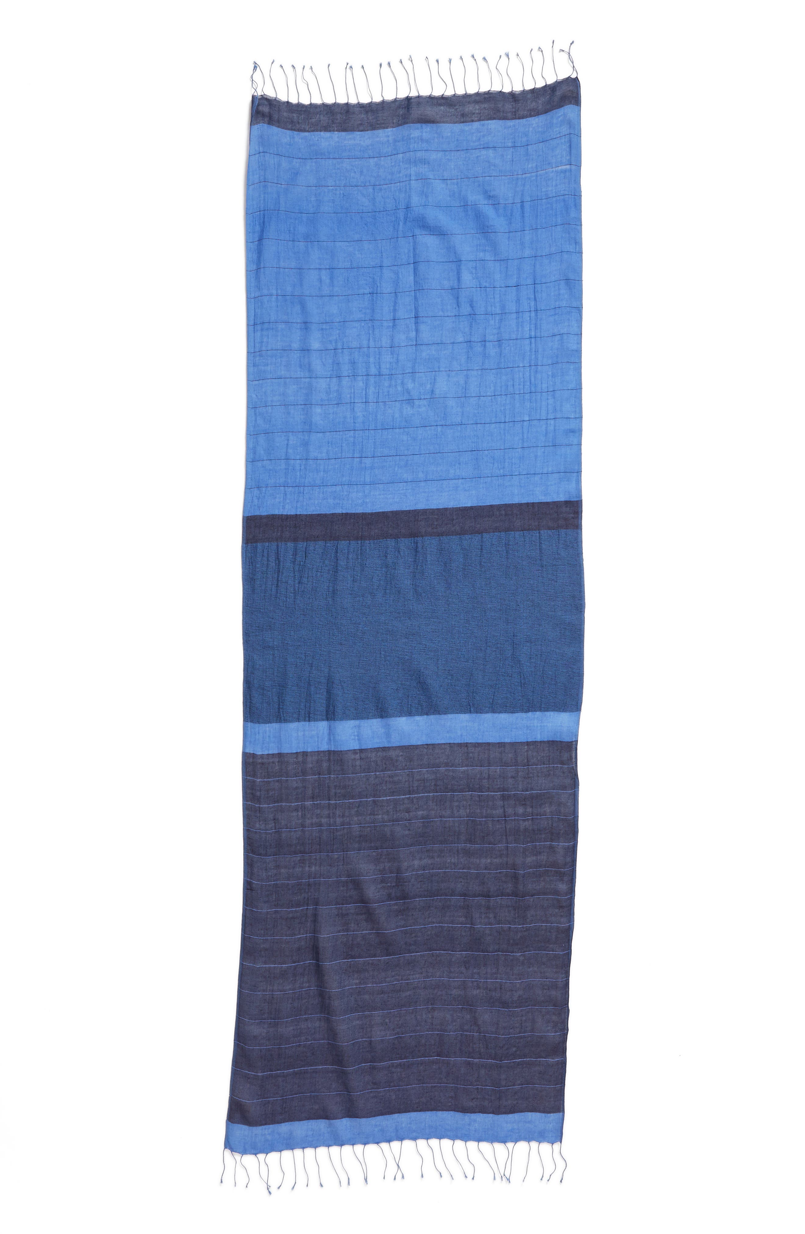 Colorblock Organic Cotton Scarf,                             Alternate thumbnail 3, color,                             405