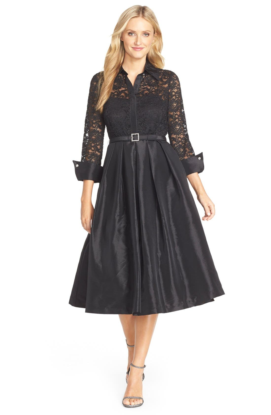 Mixed Media Fit & Flare Dress,                         Main,                         color, 001