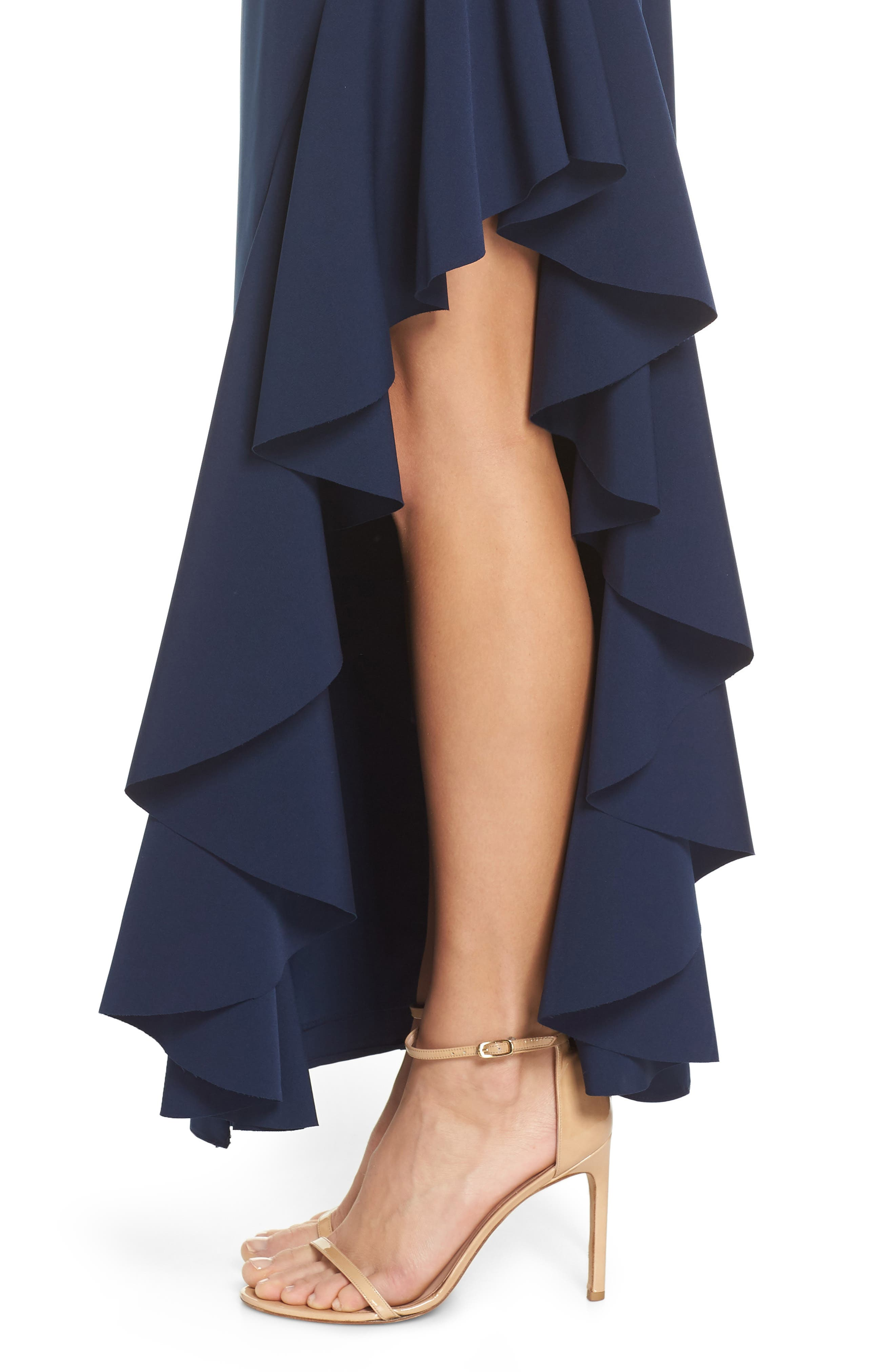 Ruffle Gown,                             Alternate thumbnail 4, color,                             NAVY