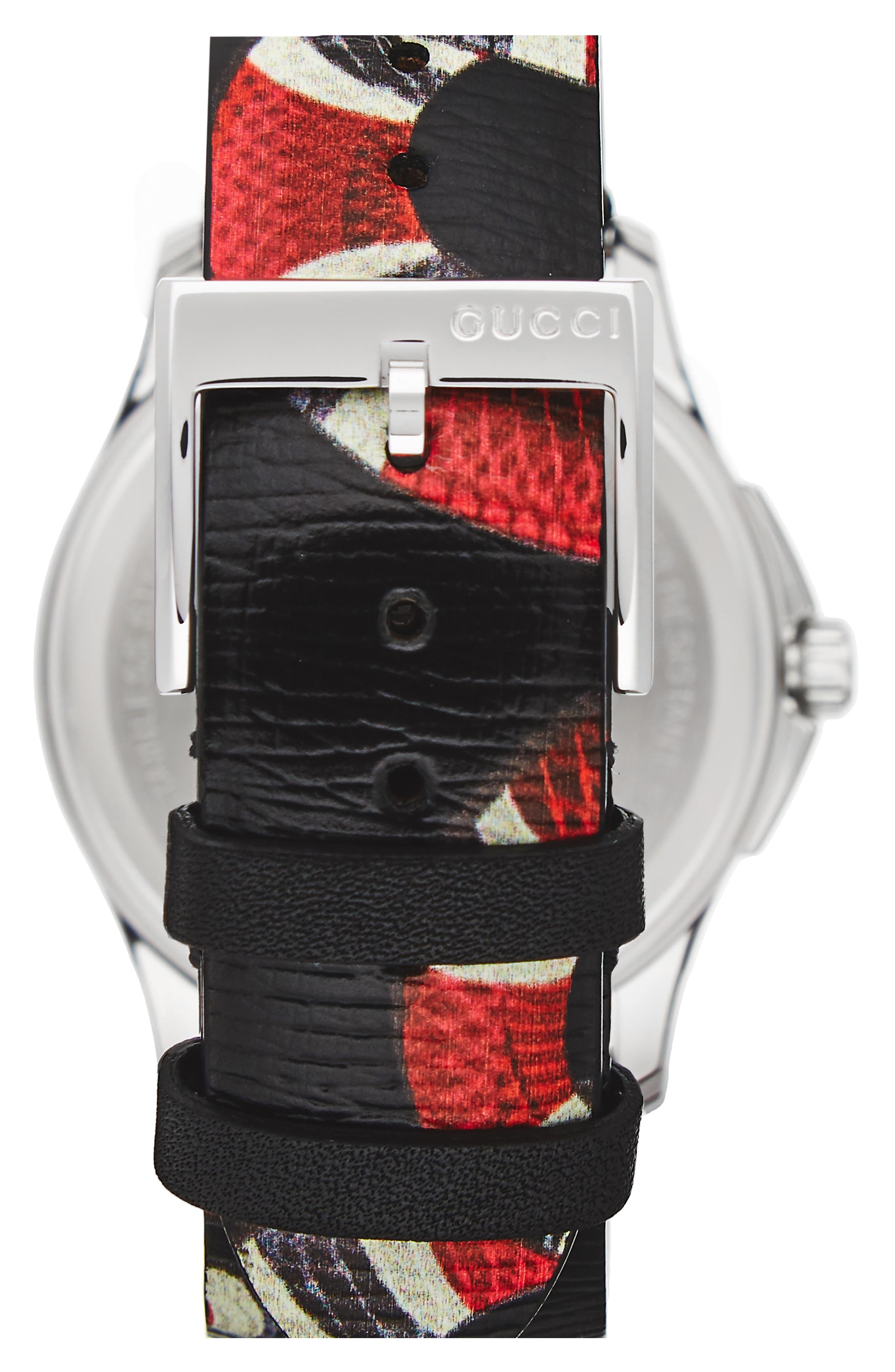 GUCCI,                             Snake Insignia Leather Strap Watch, 40mm,                             Alternate thumbnail 2, color,                             BLACK