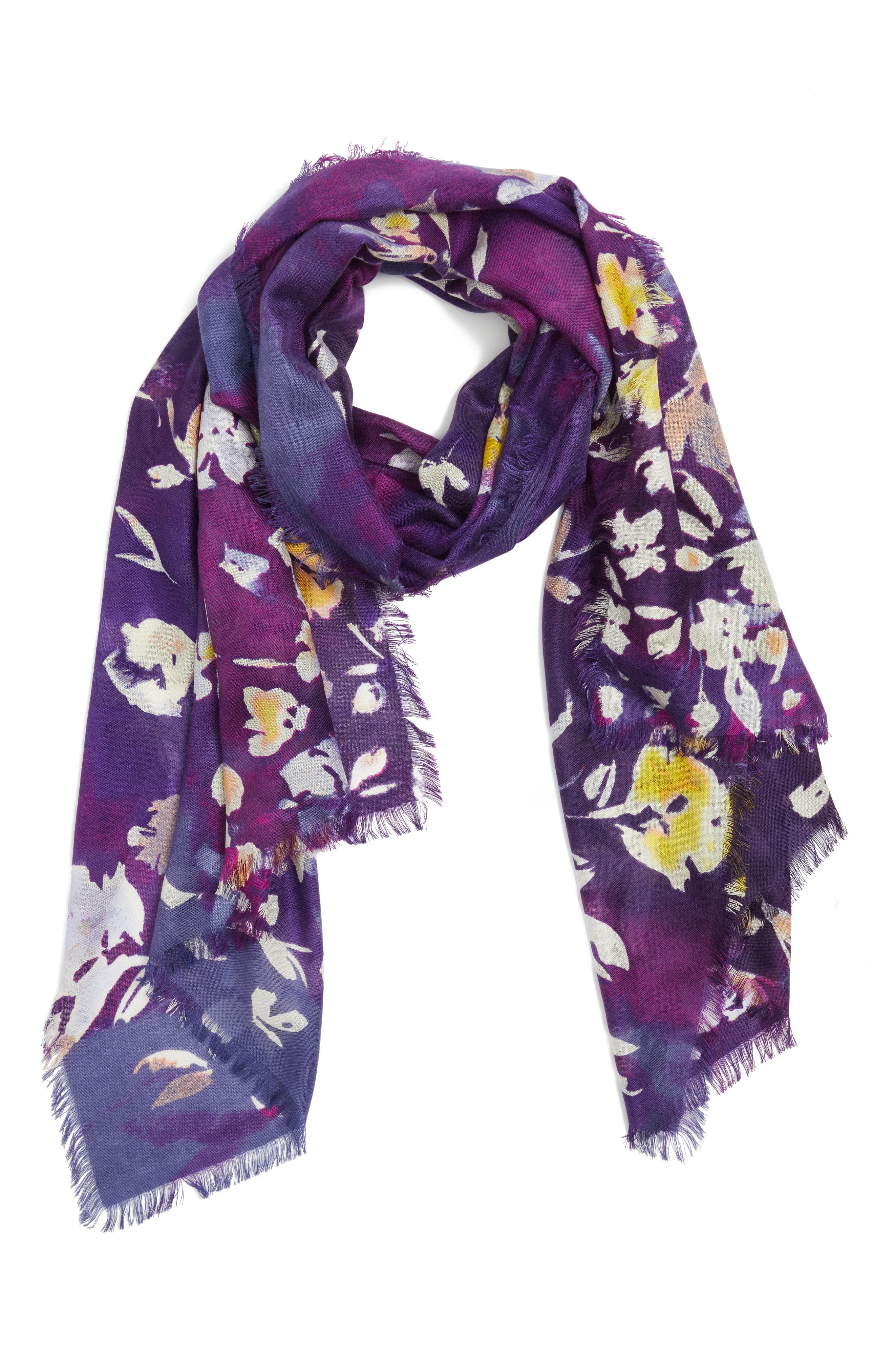 Musical Flower Cashmere & Silk Scarf,                             Alternate thumbnail 5, color,