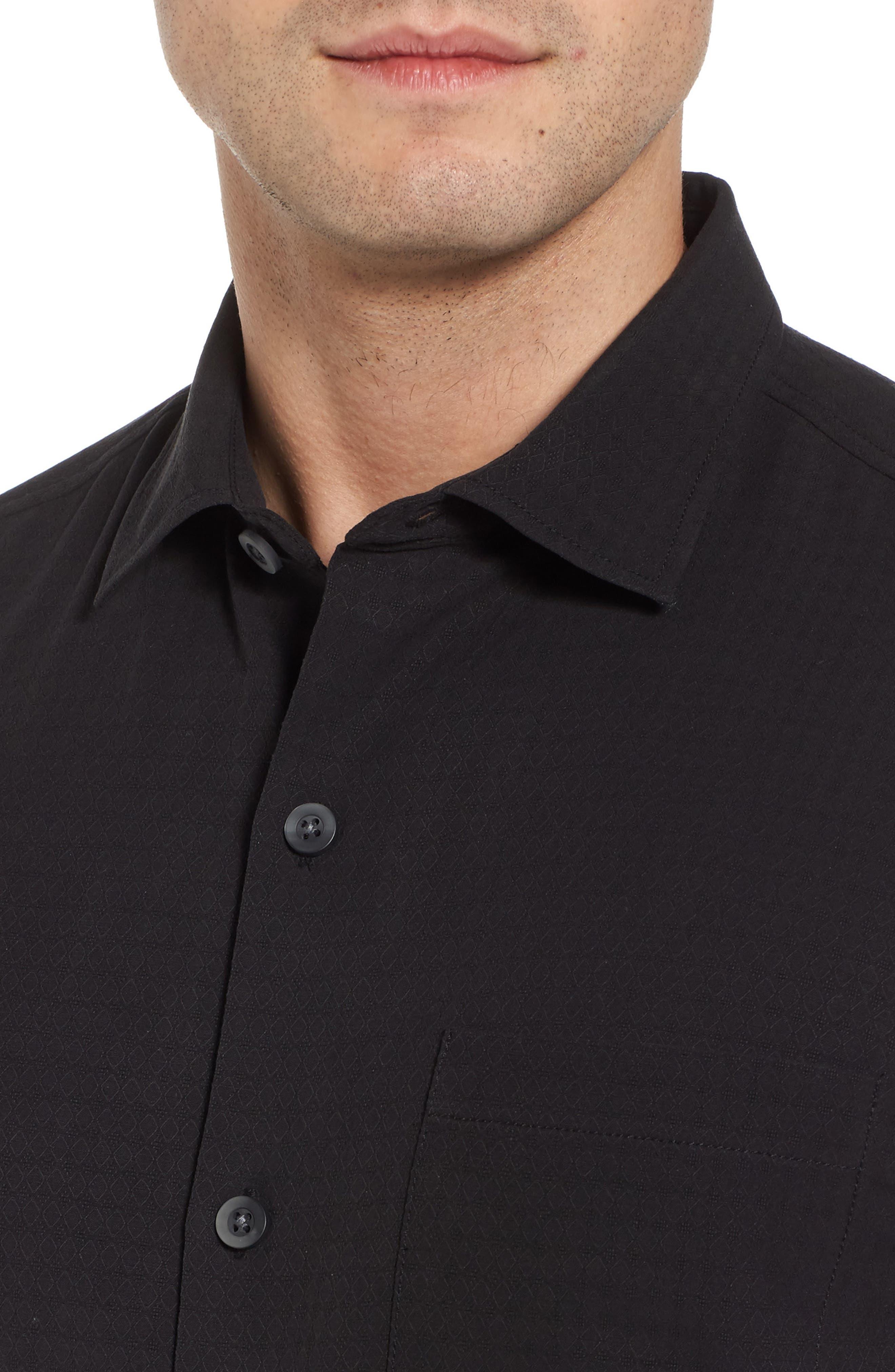 Oasis Jacquard Silk Sport Shirt,                             Alternate thumbnail 4, color,                             001