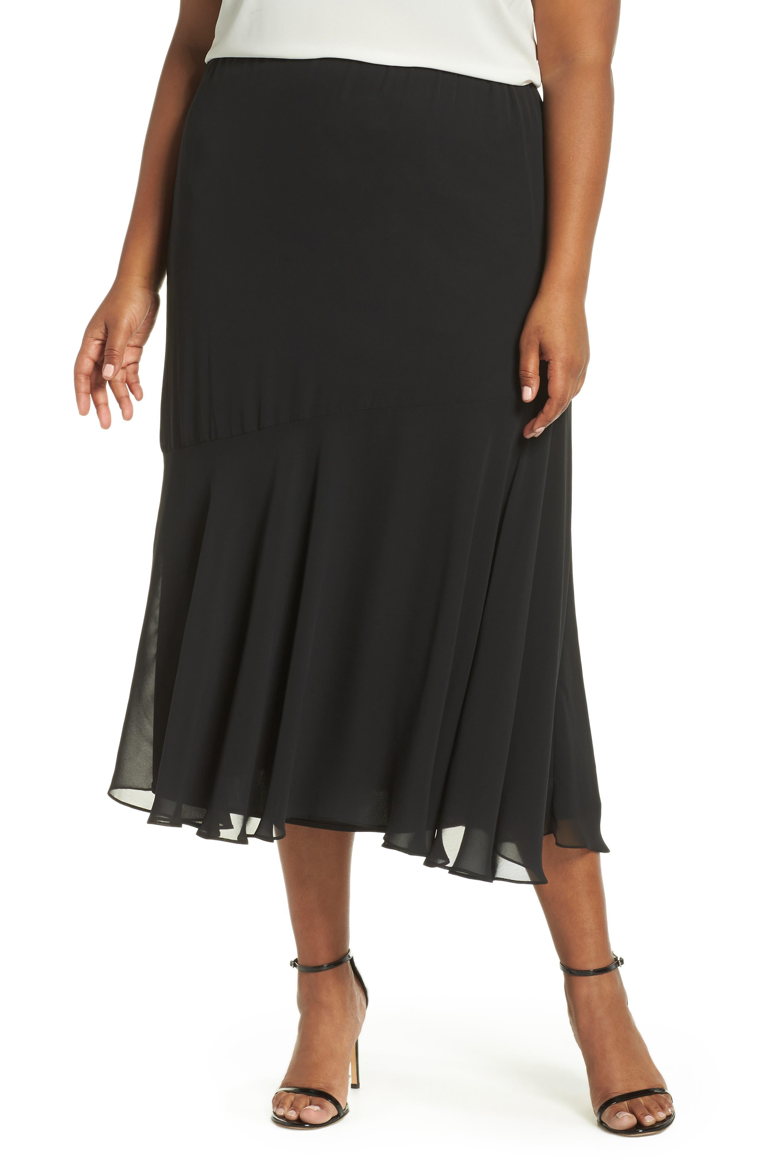 Pleated Chiffon Midi Skirt,                             Main thumbnail 1, color,                             BLACK