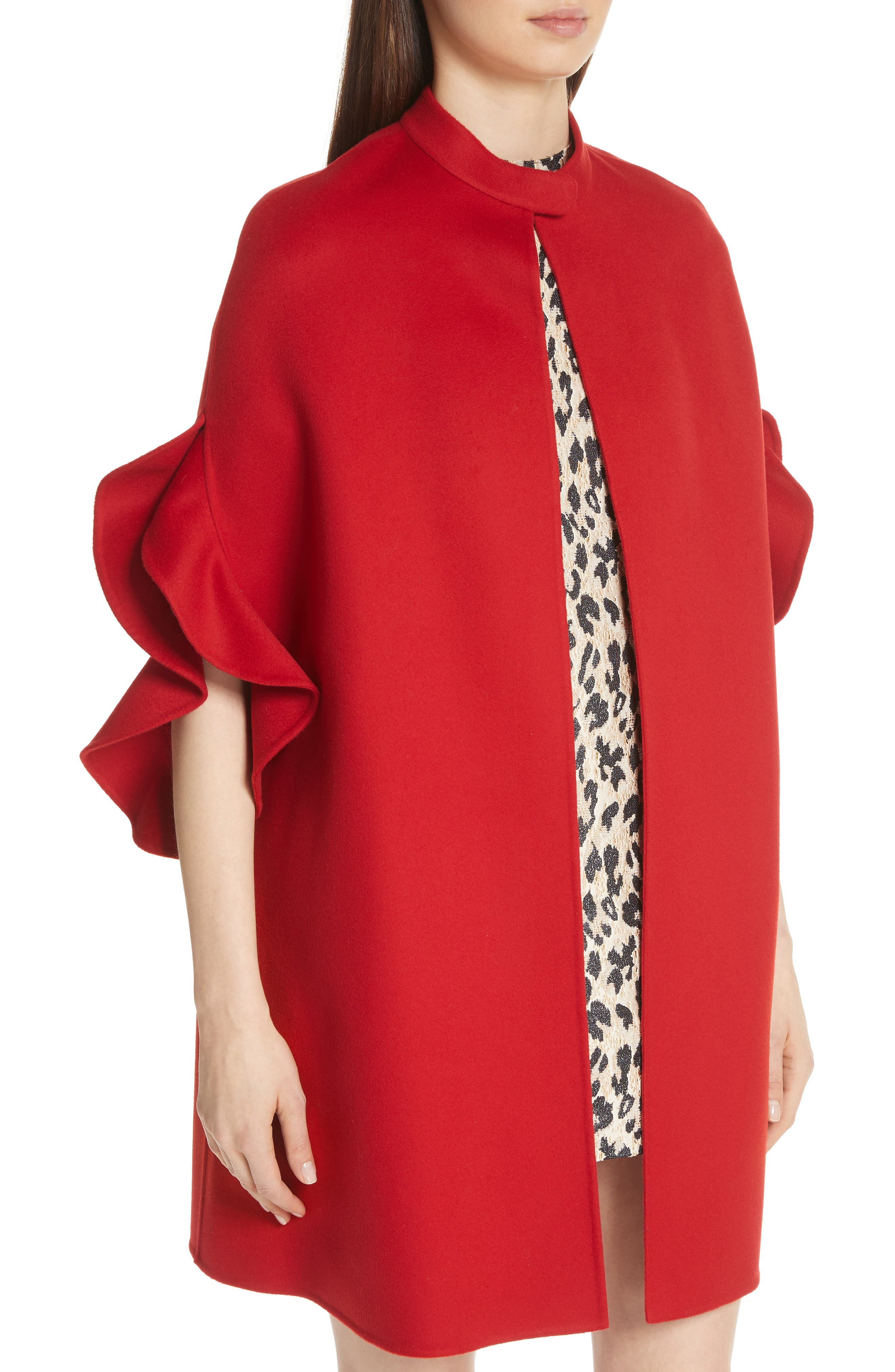 Ruffle Sleeve Compact Wool & Cashmere Cape,                             Alternate thumbnail 4, color,                             RED