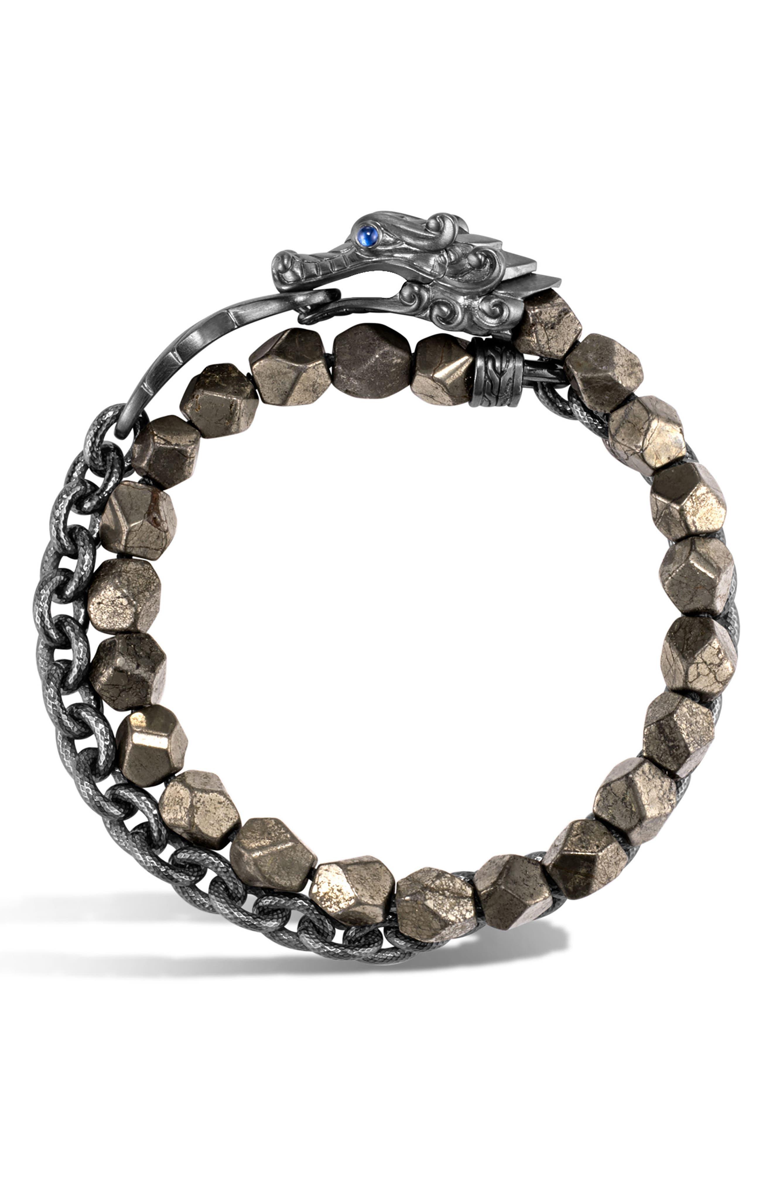 Men's Legends Naga Double Wrap Bracelet,                         Main,                         color, SILVER/ PYRITE/ BLACK RHODIUM