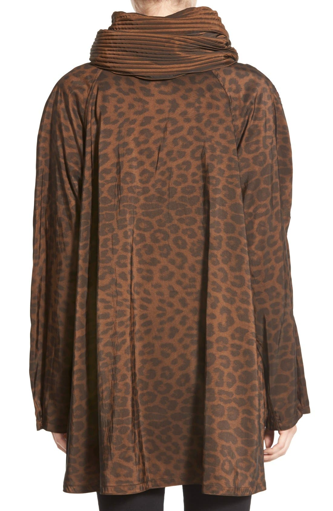 'Mini Donatella Leopard' Reversible Pleat Hood Packable Travel Coat,                             Alternate thumbnail 10, color,                             202