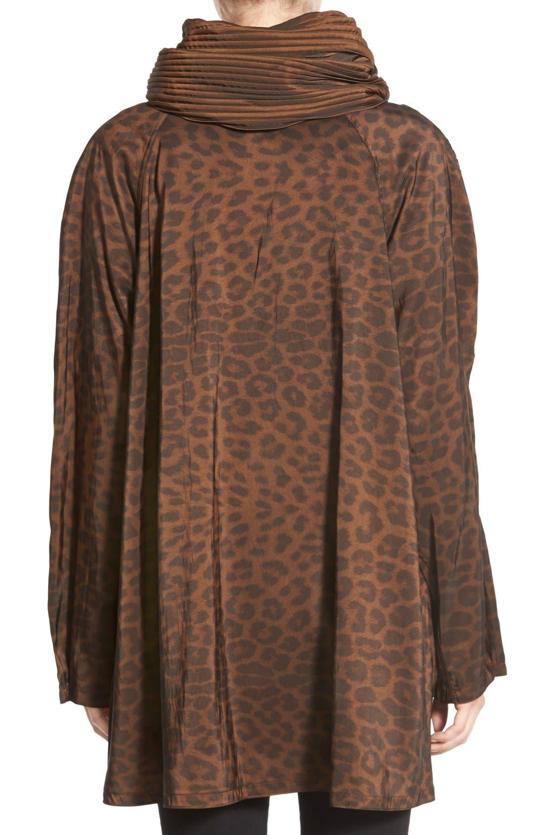 'Mini Donatella Leopard' Reversible Pleat Hood Packable Travel Coat,                             Alternate thumbnail 9, color,                             202