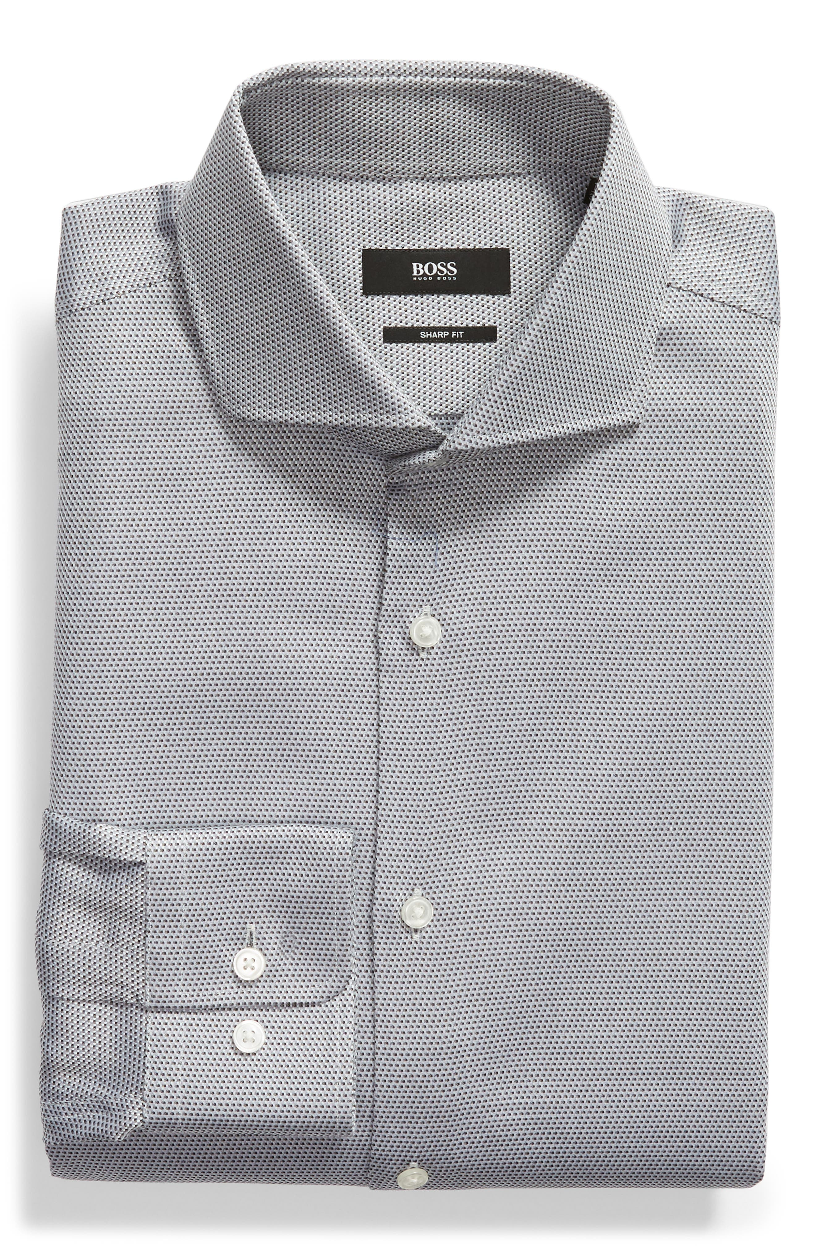 Sharp Fit Dress Shirt,                             Alternate thumbnail 5, color,                             GREY