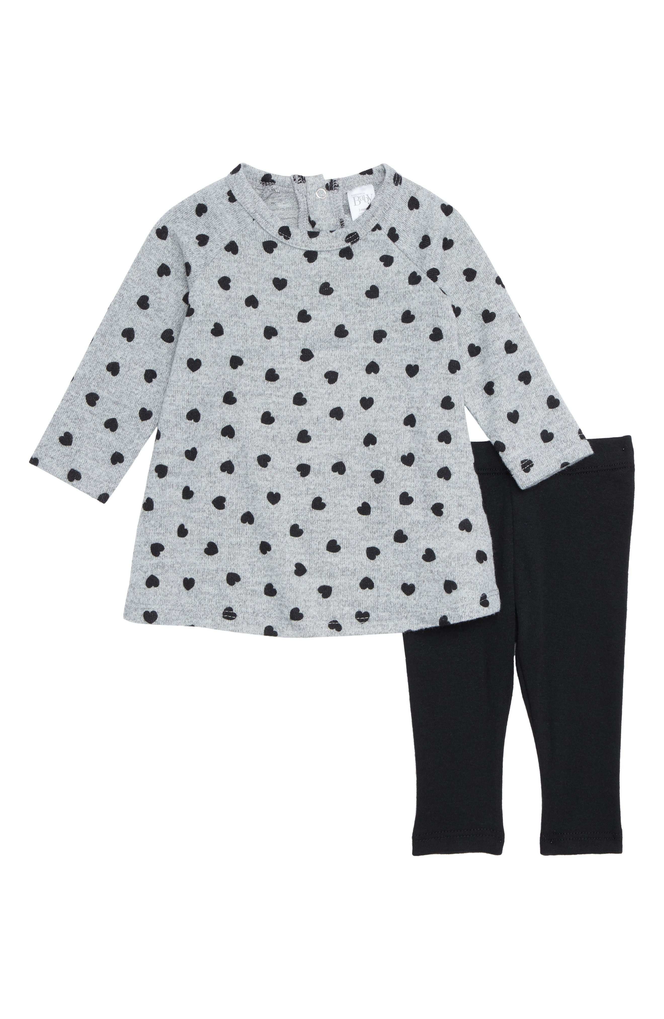 Tunic & Leggings Set,                         Main,                         color, GREY ASH HEATHER- BLACK HEARTS