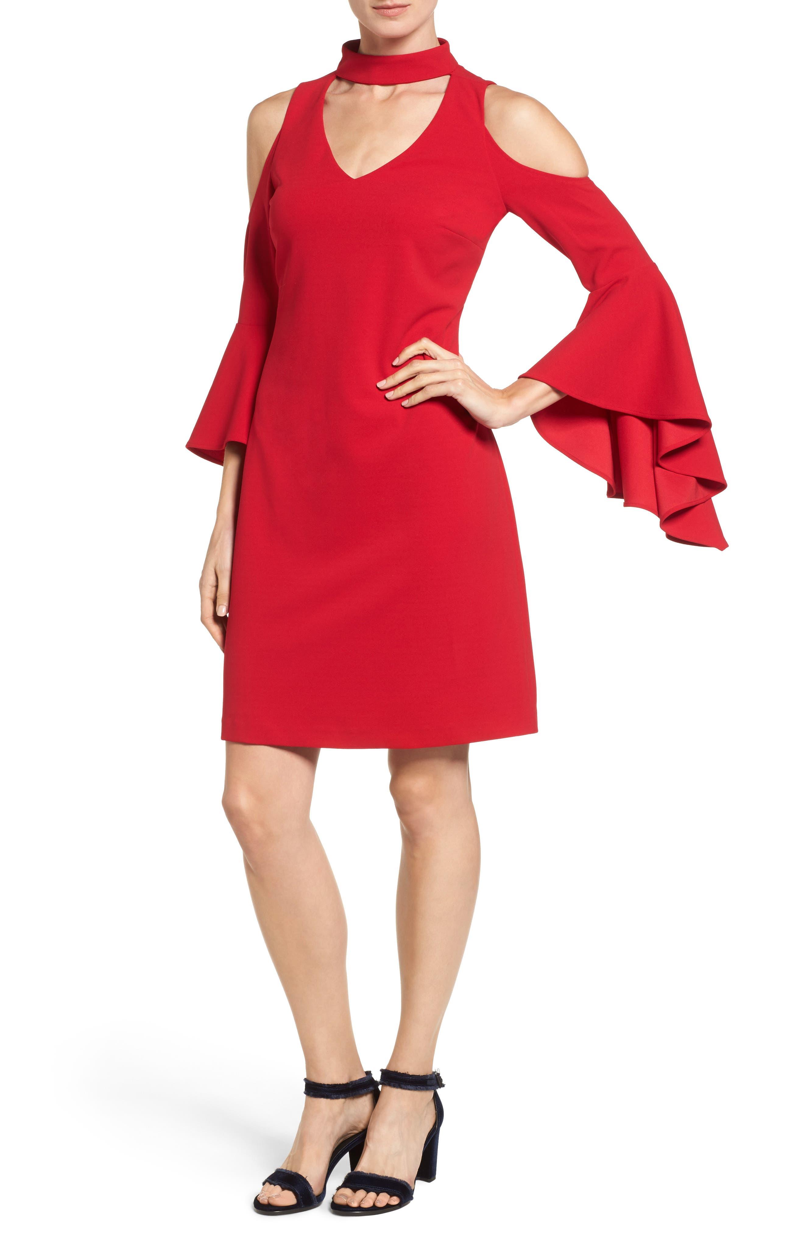 Cold Shoulder Bell Sleeve Dress,                             Main thumbnail 1, color,                             614