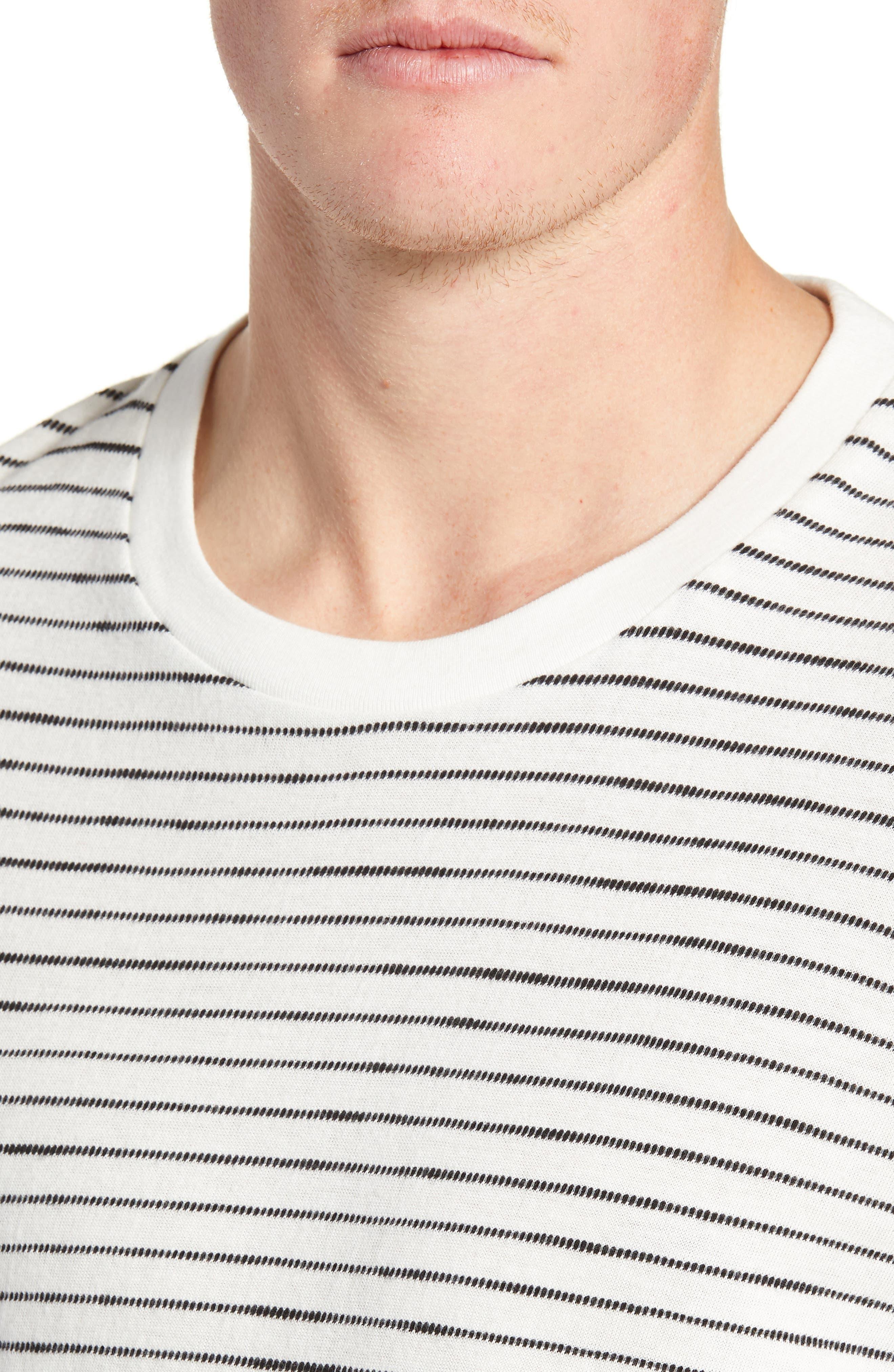 Railroad Stripe Long Sleeve T-Shirt,                             Alternate thumbnail 4, color,                             IVORY/ BLACK