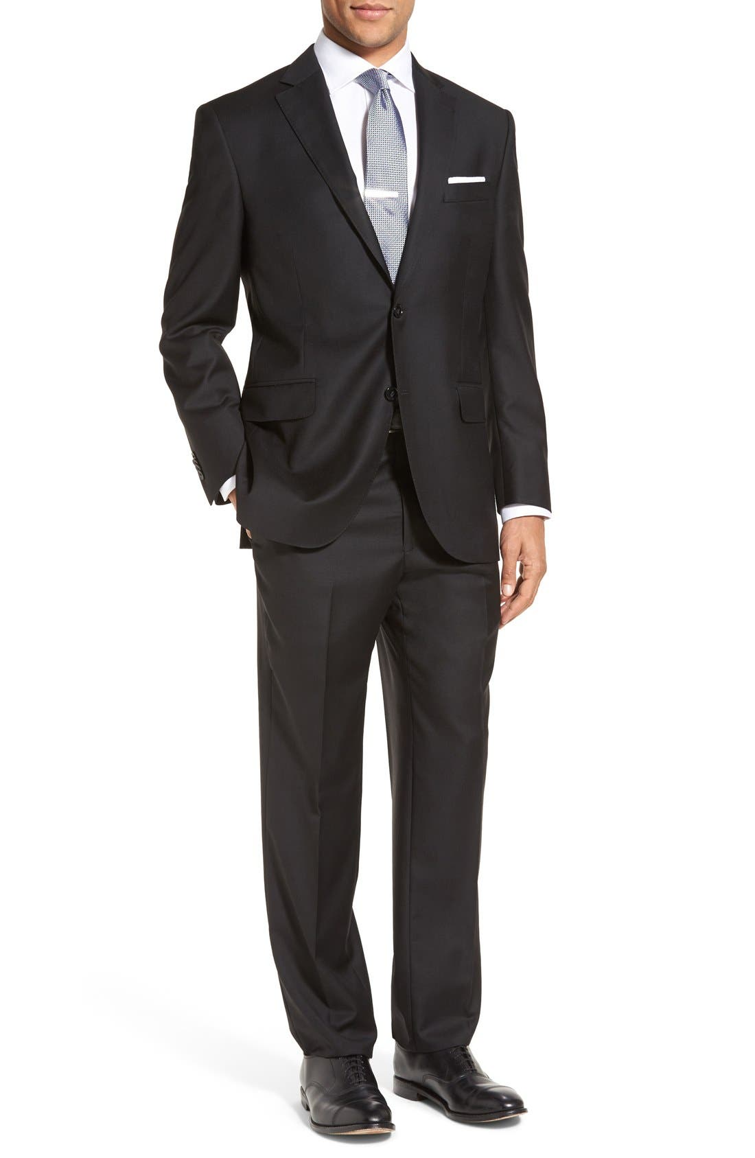 PETER MILLAR,                             Flynn Classic Fit Solid Wool Suit,                             Main thumbnail 1, color,                             BLACK